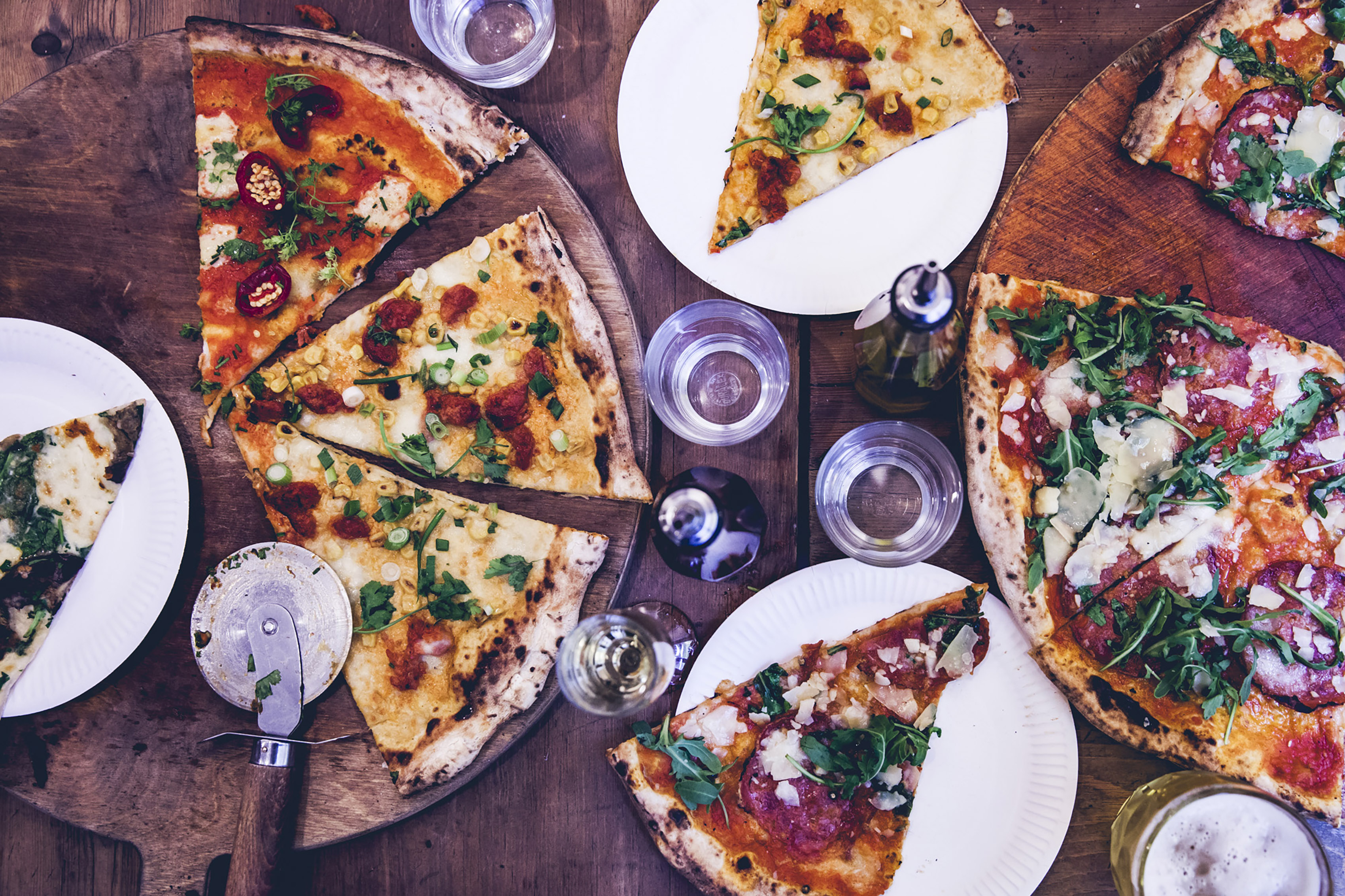 Pizzas from homeslice fitzrovia