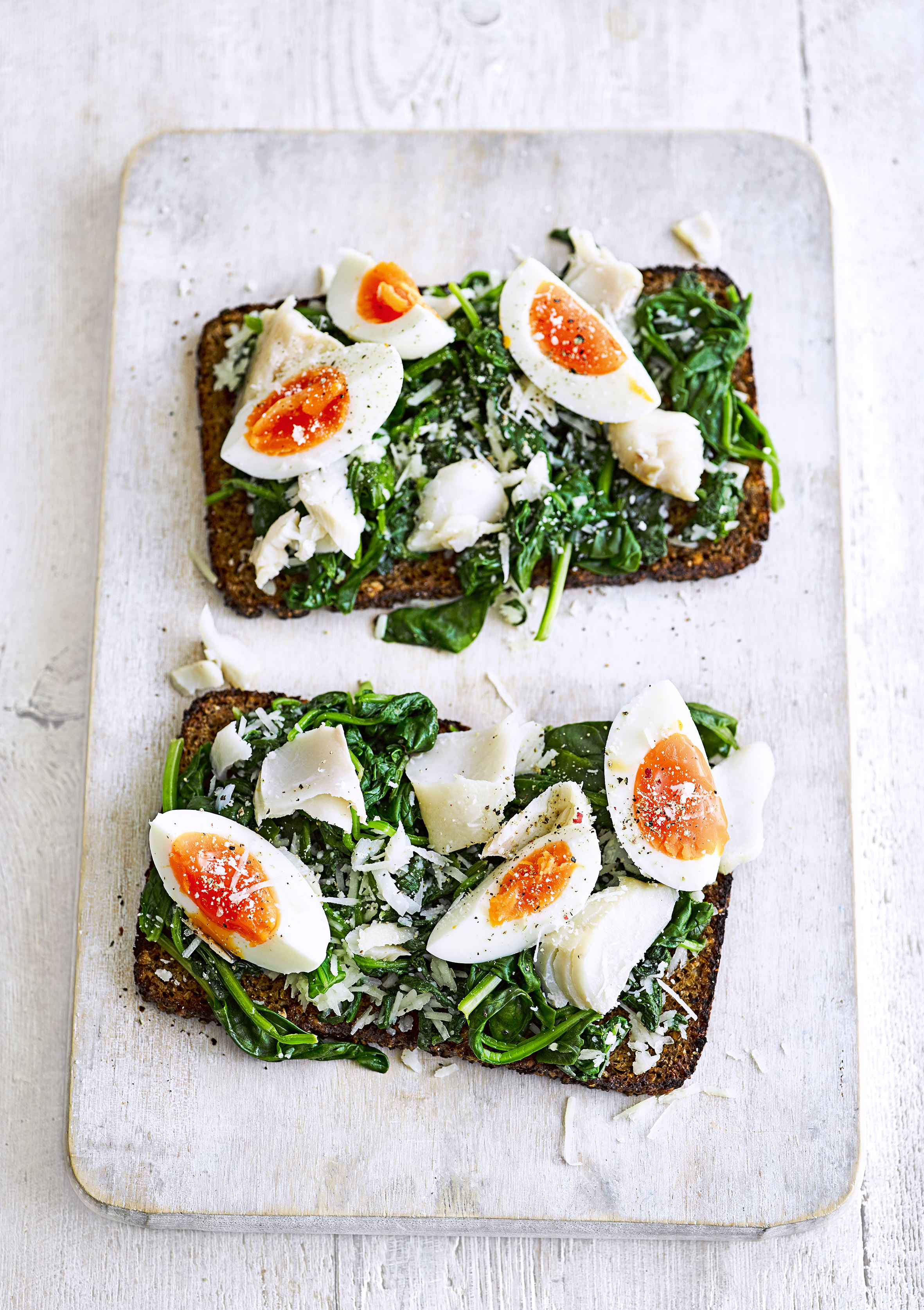 Smoked haddock and spinach rye toasts