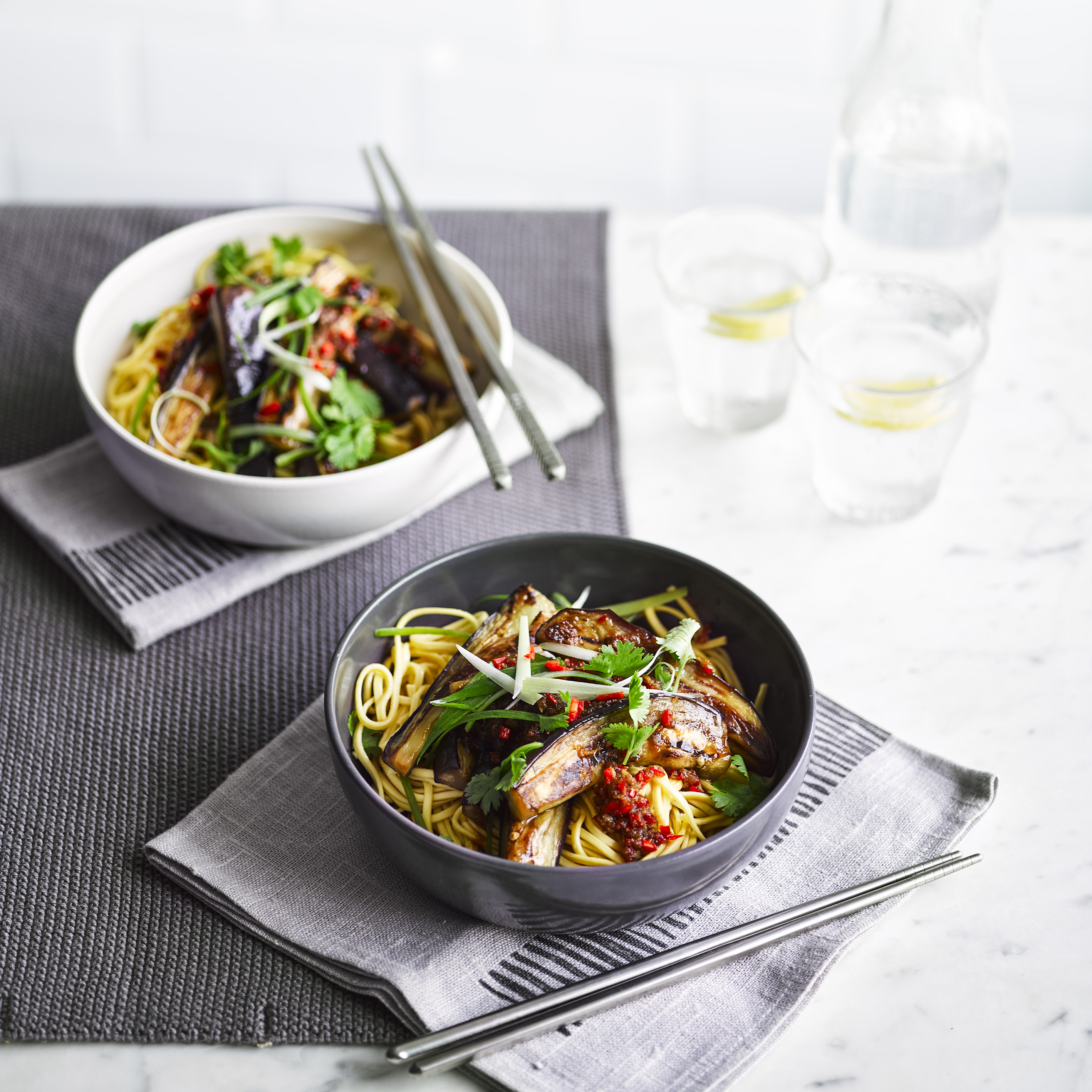 Sweet Soy Noodle Recipe with Aubergine