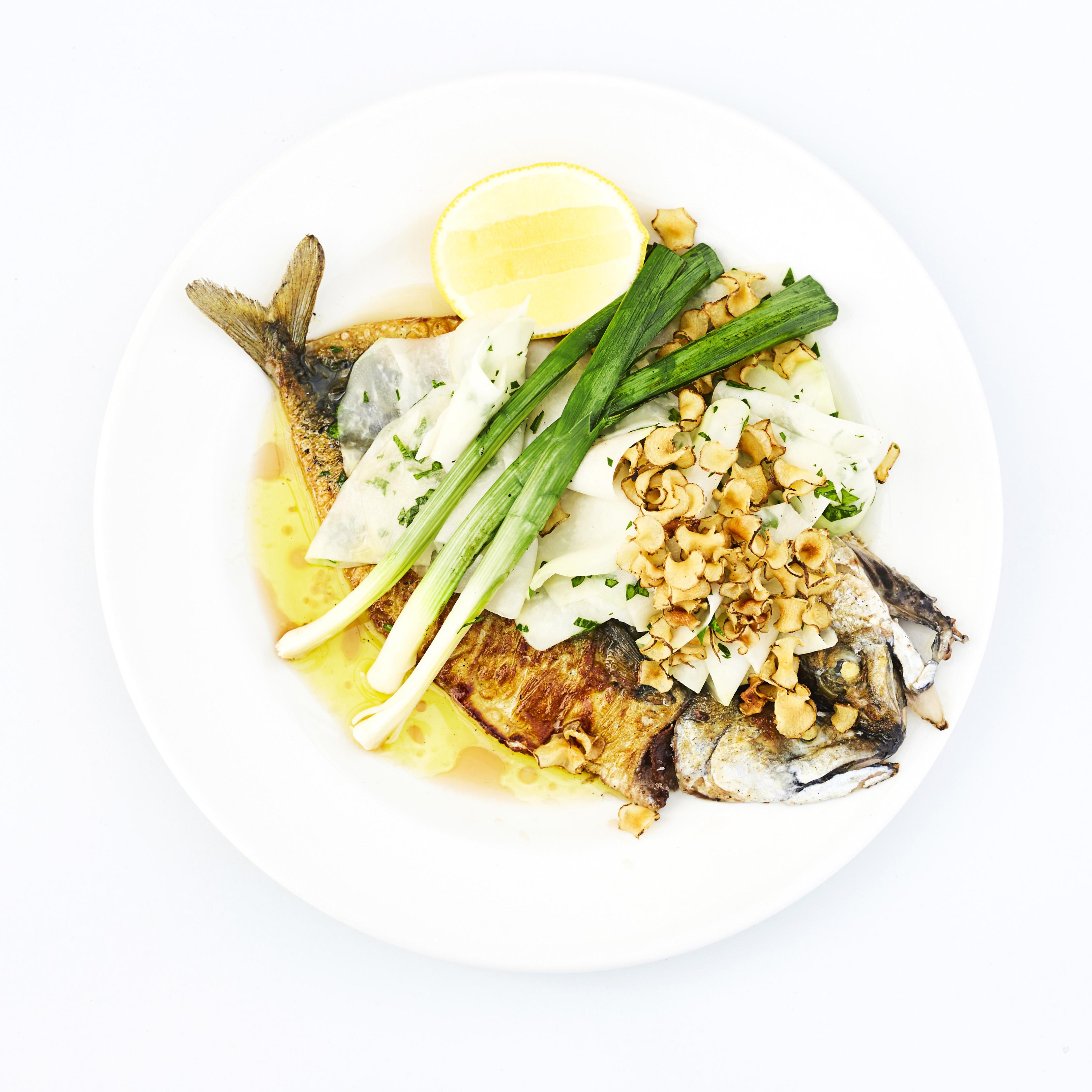 Whole roast mackerel leeks, kohlrabi, jerusalem artichokes from Xiringuito, liverpool