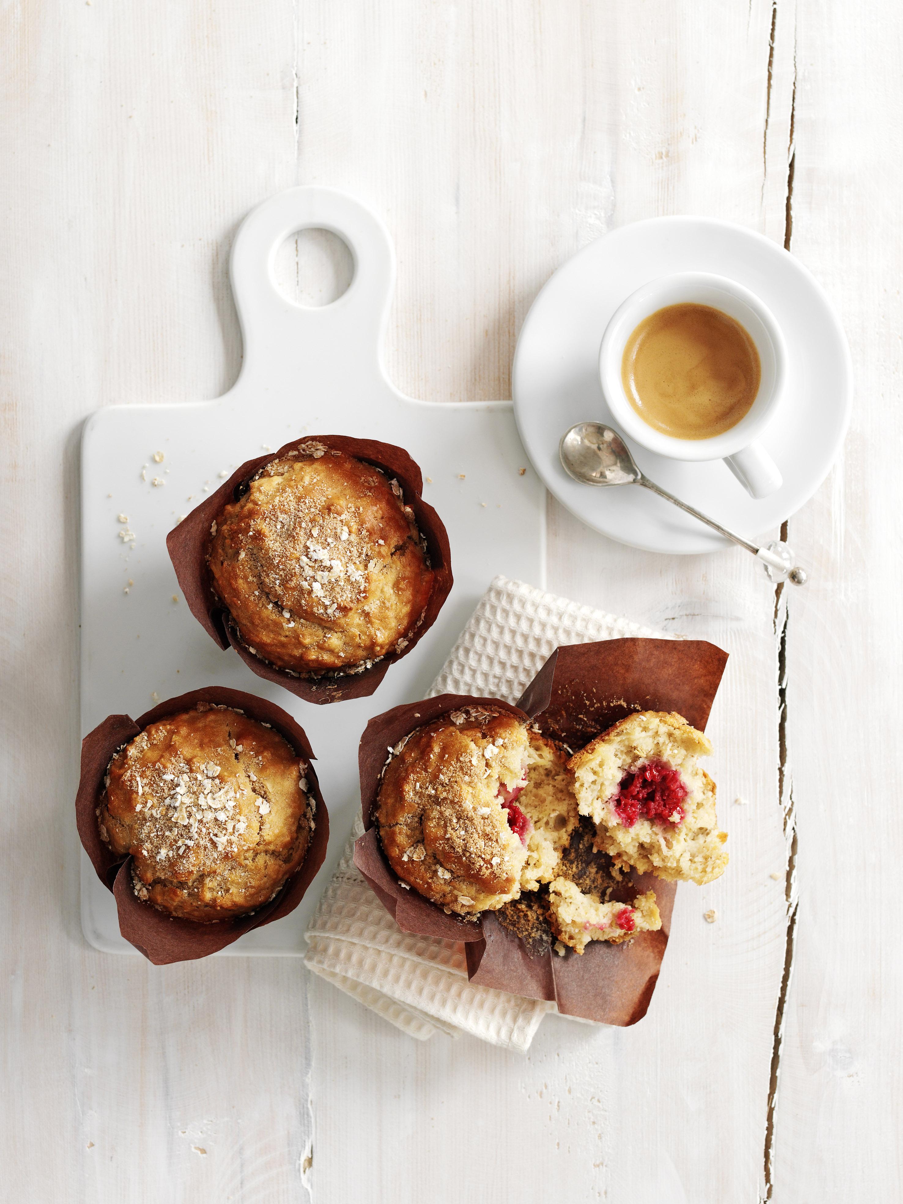 apple and raspberry breakfast muffins