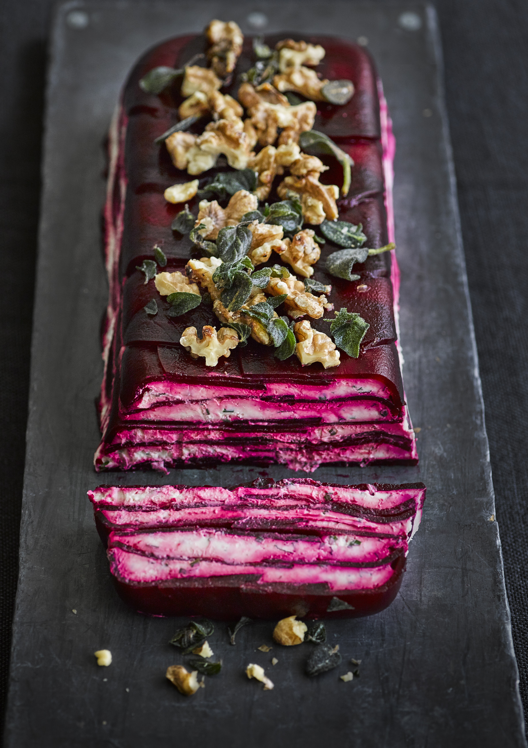 Tofu steak with beetroot noodles and dukkah - olive