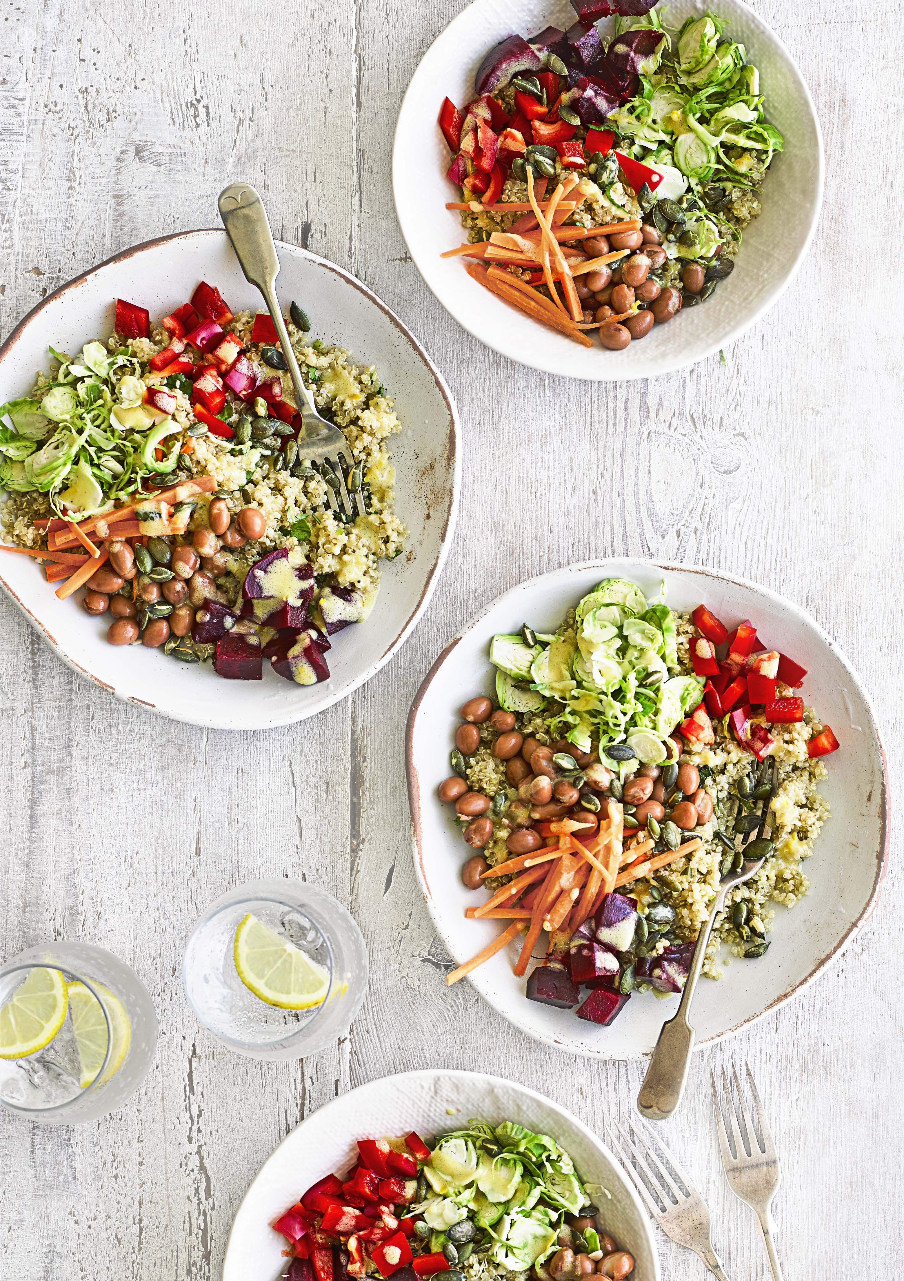 buddha bowls with shredded sprouts and beets