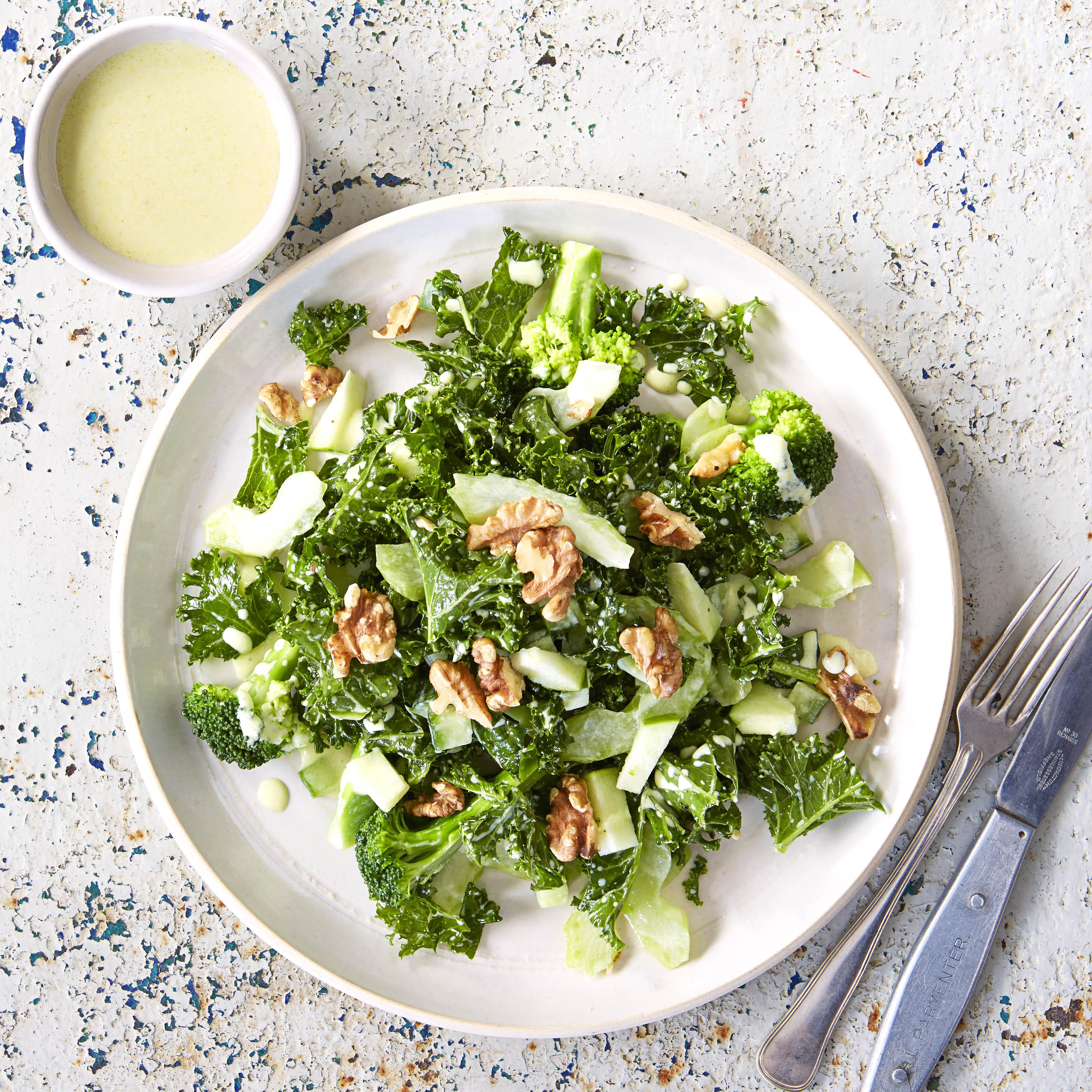 Kale and broccoli emerald salad with kefir dressing