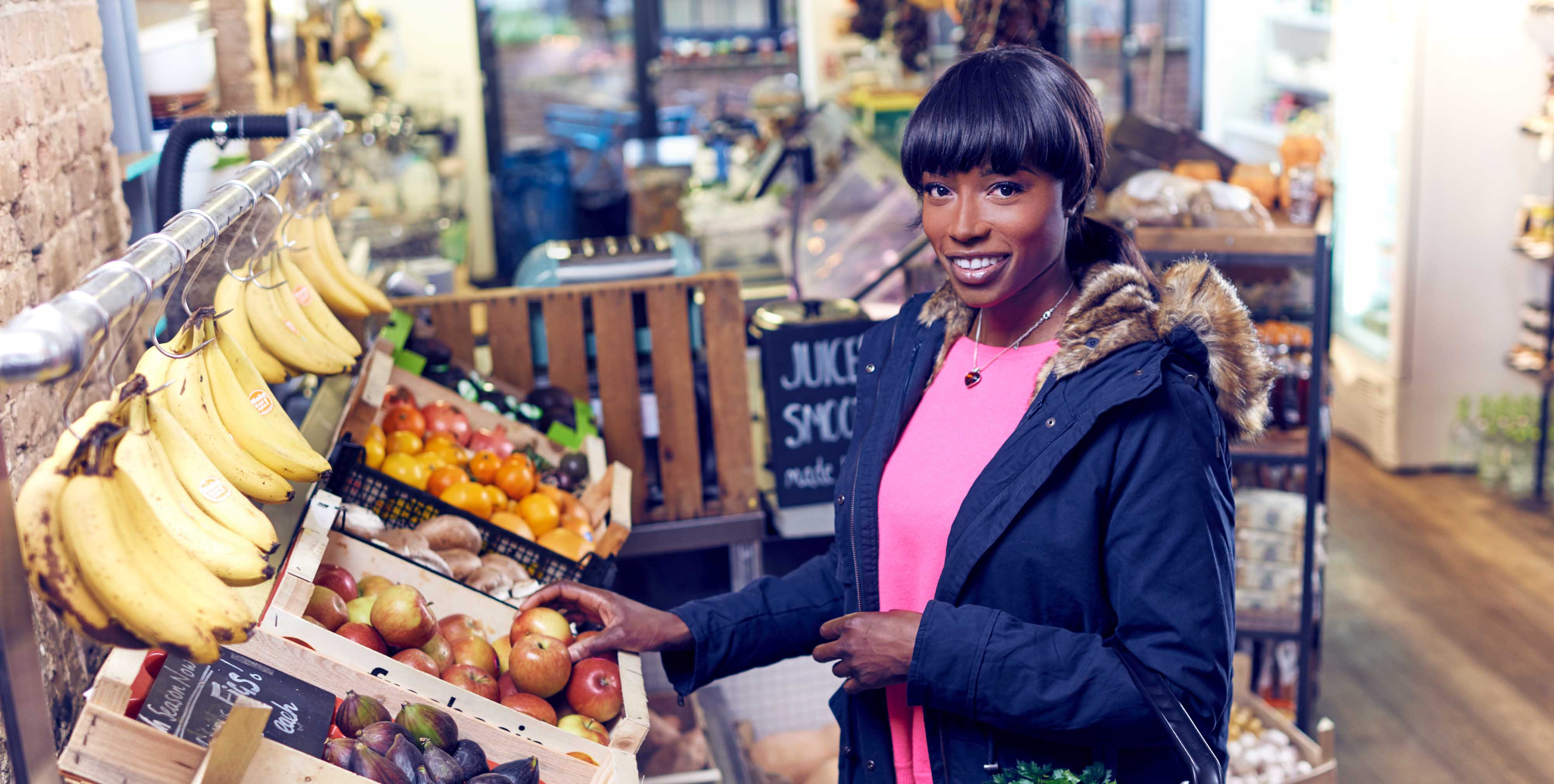 Lorraine Pascale shopping for fruit and veg