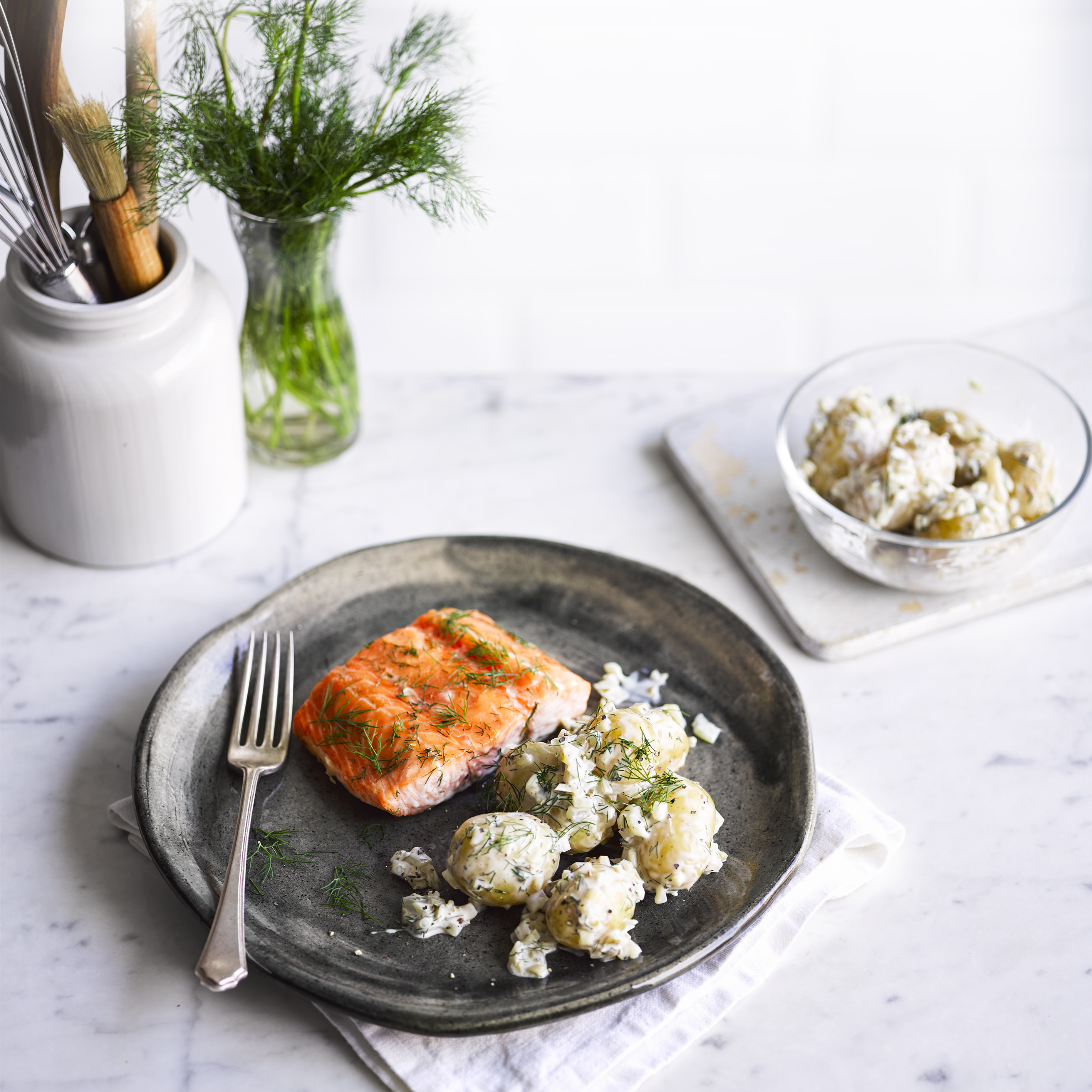 scandi-style salmon with pickle potato salad