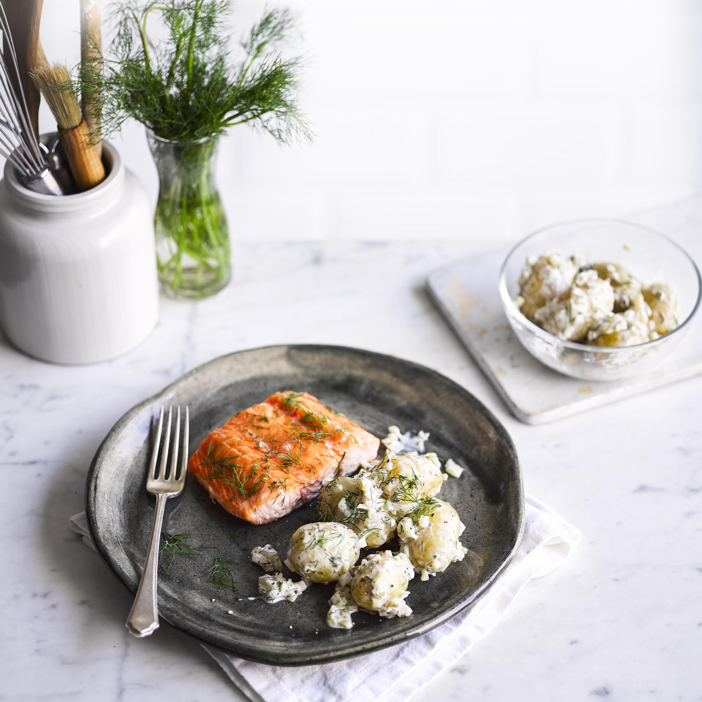 scandi-style salmon with pickle potato salad