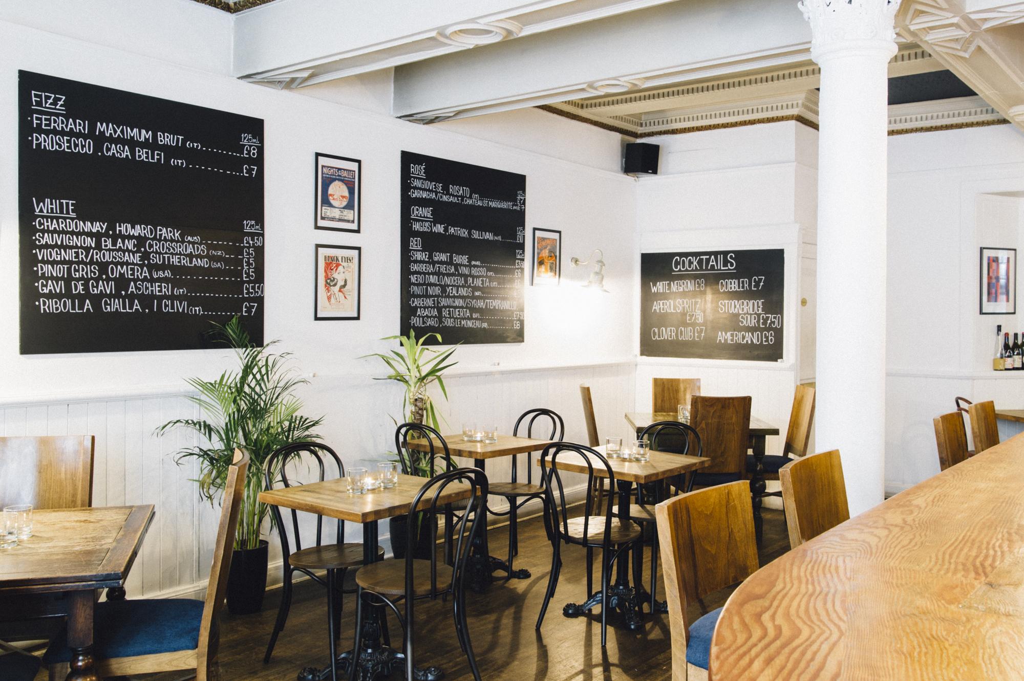 Interior shot of Good Brothers wine bar, Edinburgh