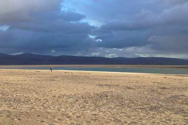 Snowdonia beach with cloudy moody sky