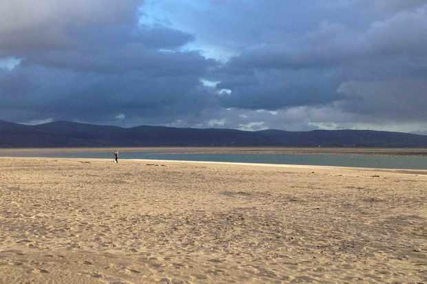 Snowdonia beach with cloudy moody sky