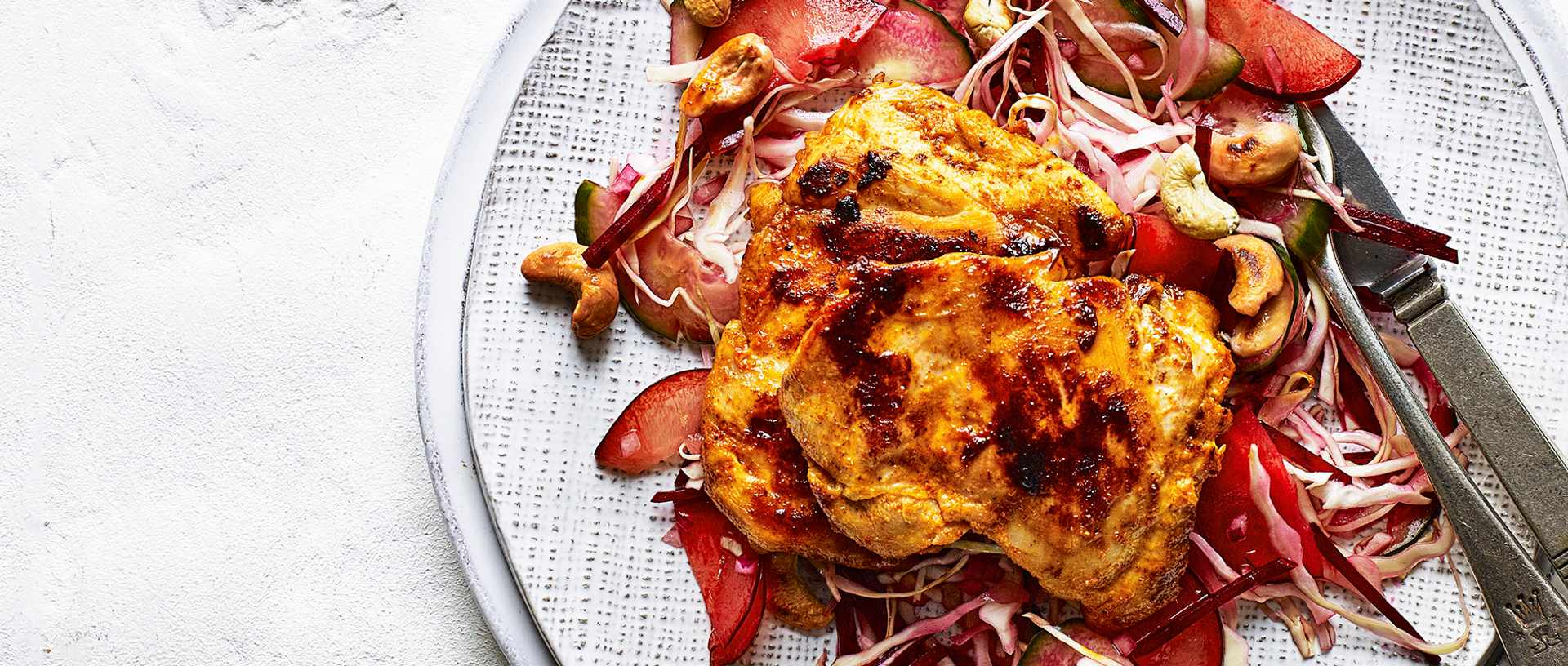 Seared sriracha chicken with pickled plum slaw