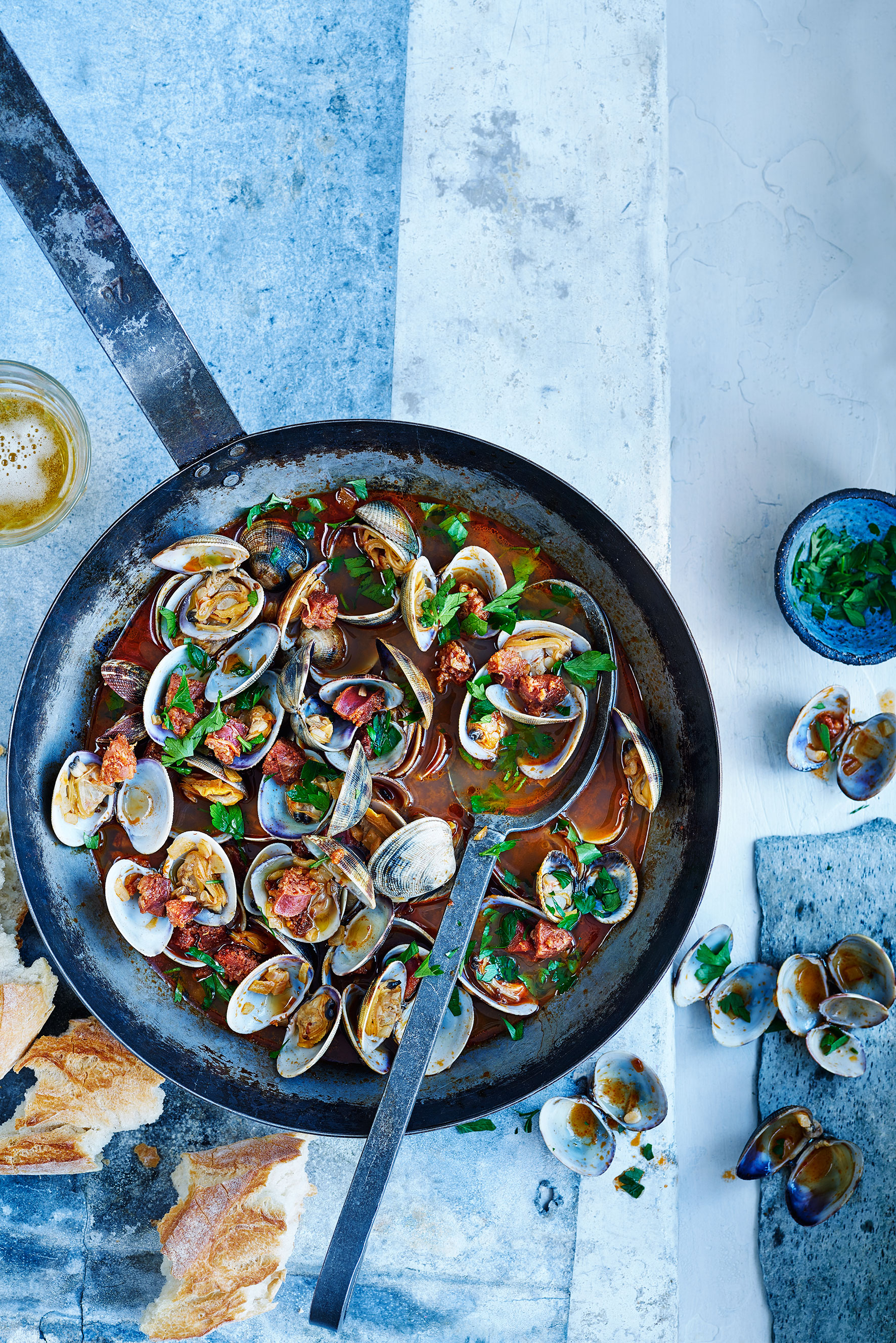 drunken clams with chorizo