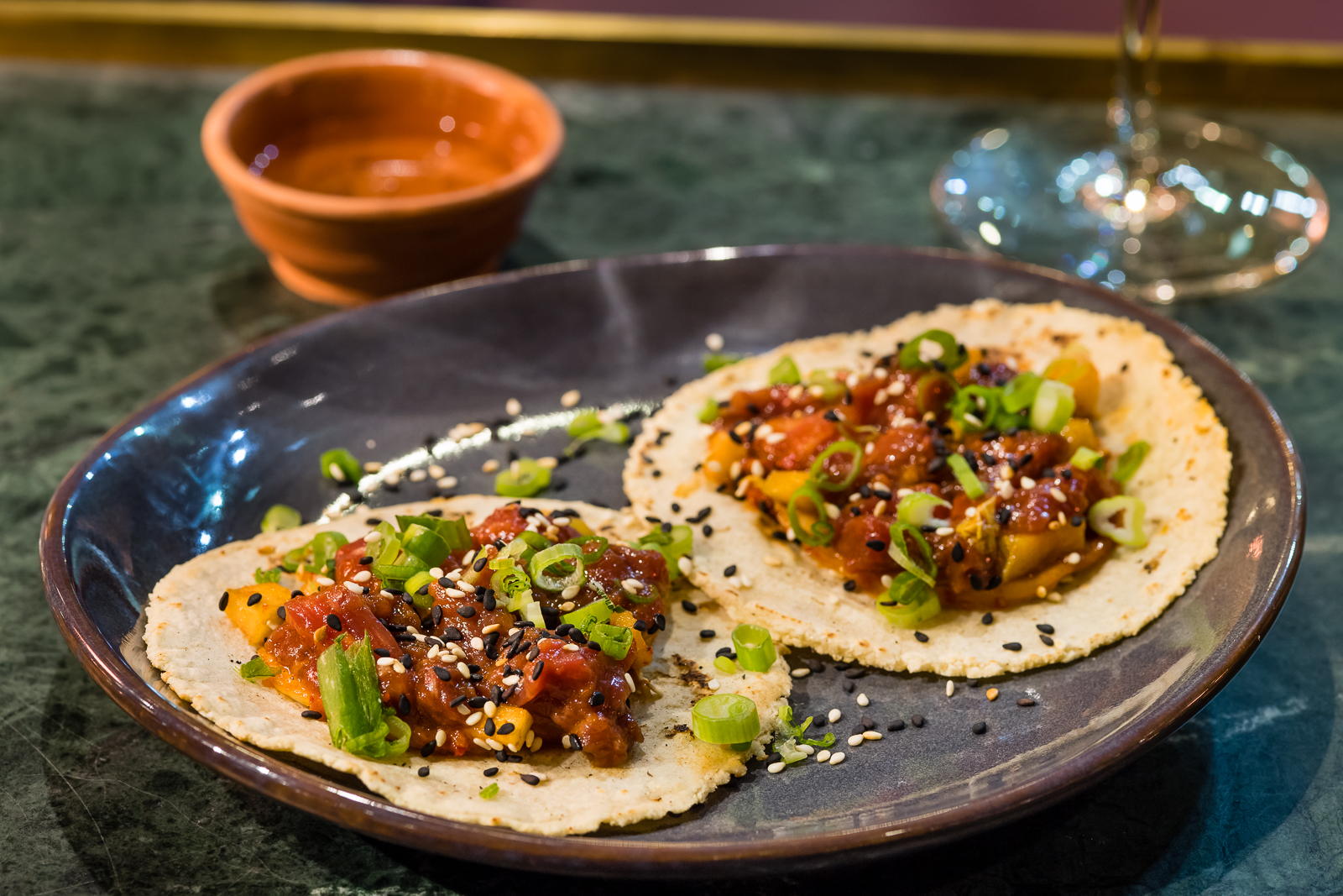 Soy cured beef tacos at Temper restaurant