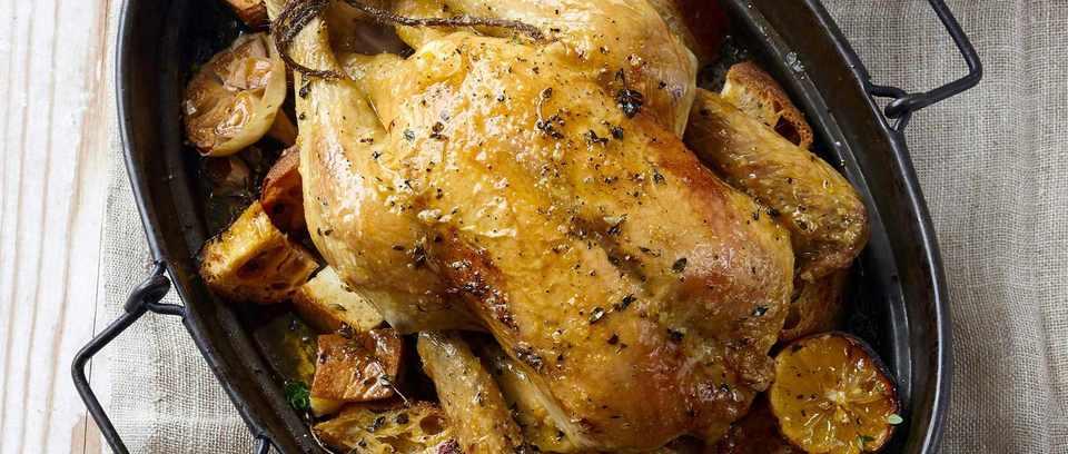 Roast chicken recipe with garlic croutons
