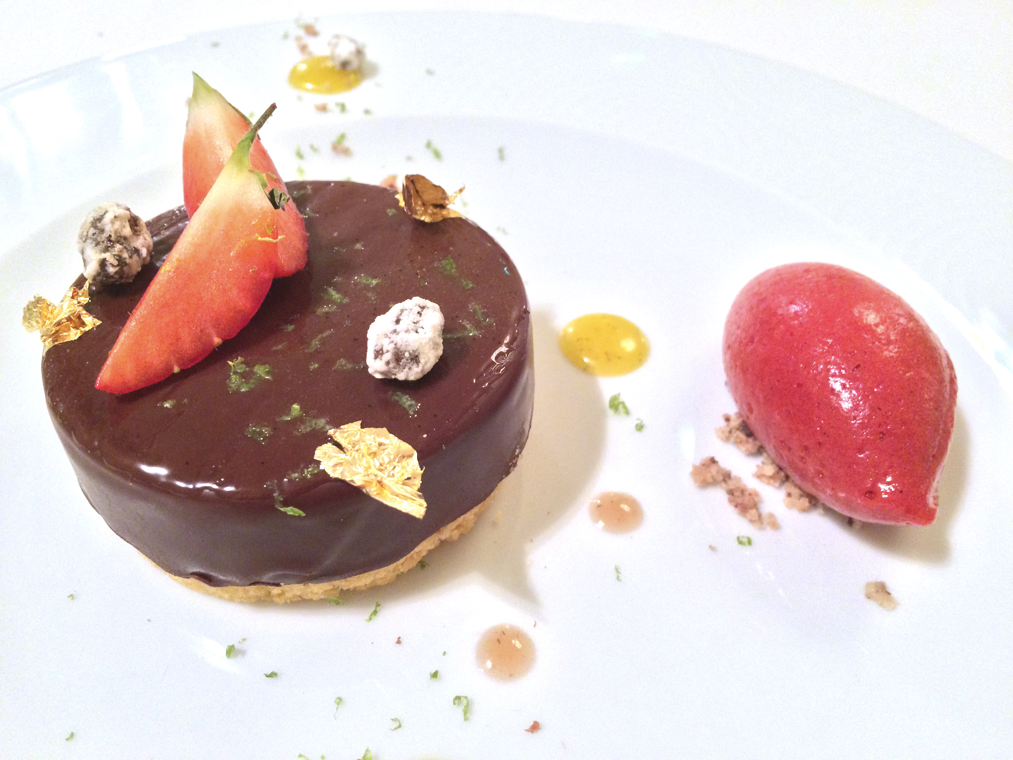 Maison D'Uzes chocolate dessert with raspberry and red pepper sorbet