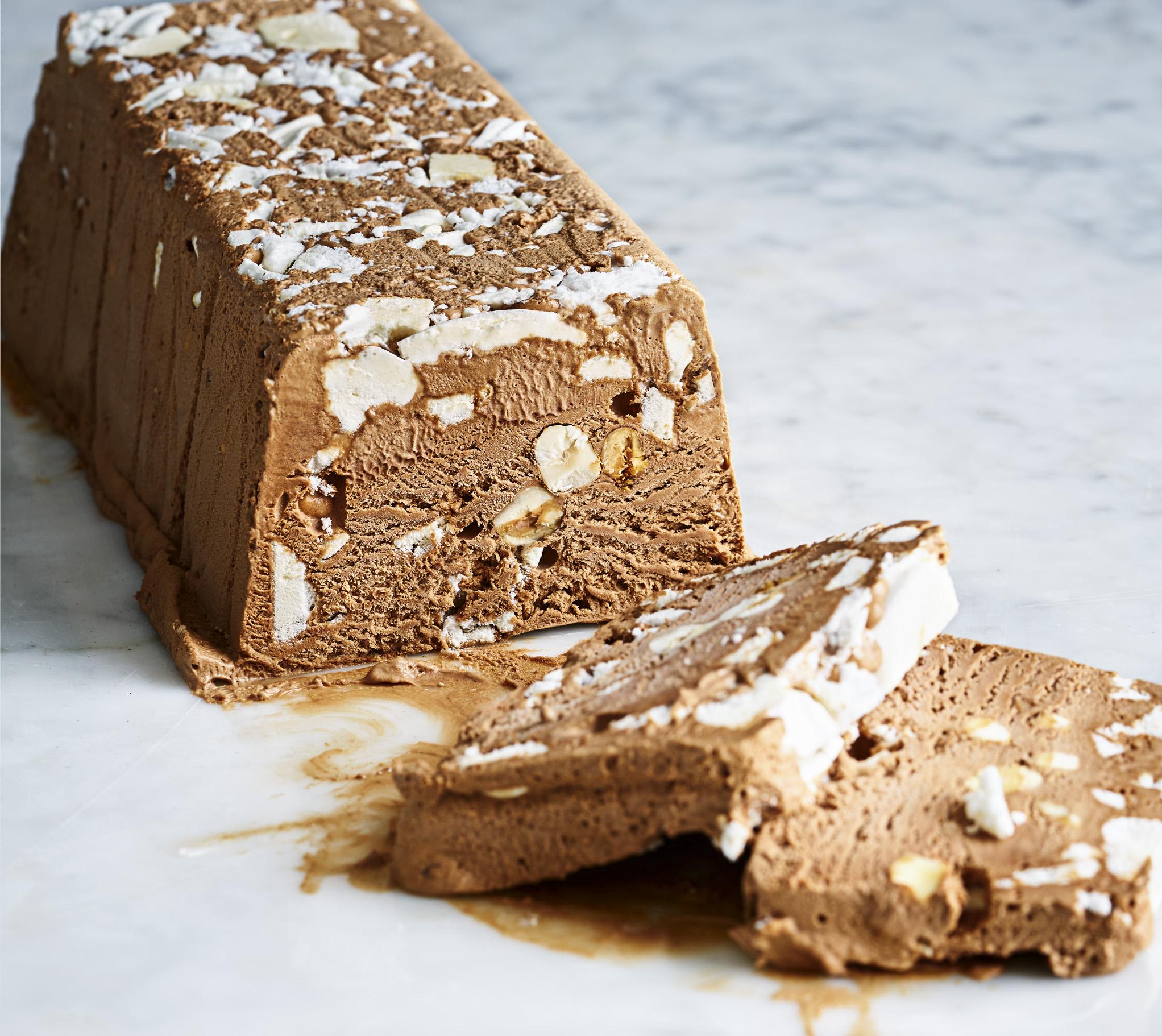 Chocolate and Hazlenut Meringue Semifreddo
