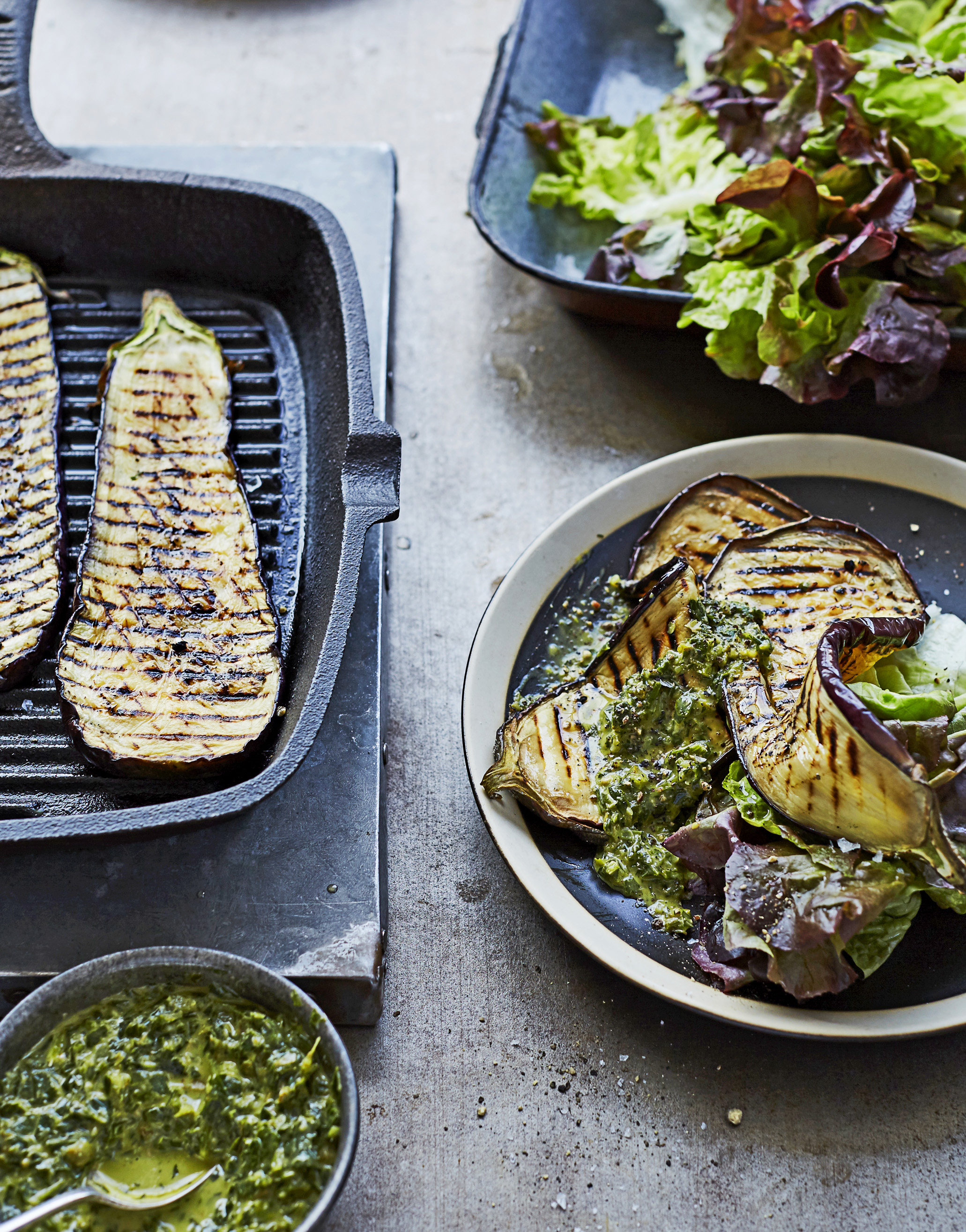 Grilled Aubergine with Red Butterhead and Salsa Verde