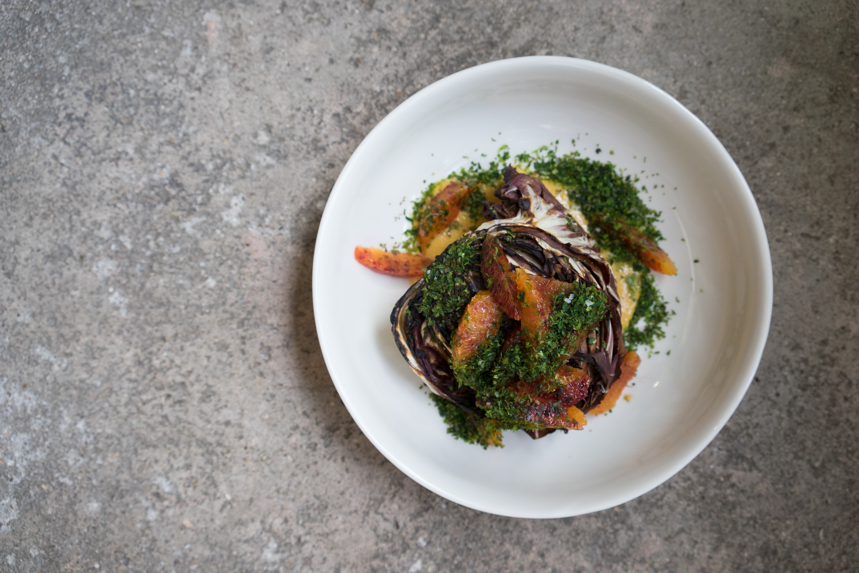 Dandy, Newington Green: Charred Radicchio, Blood Orange, Miso and Nori