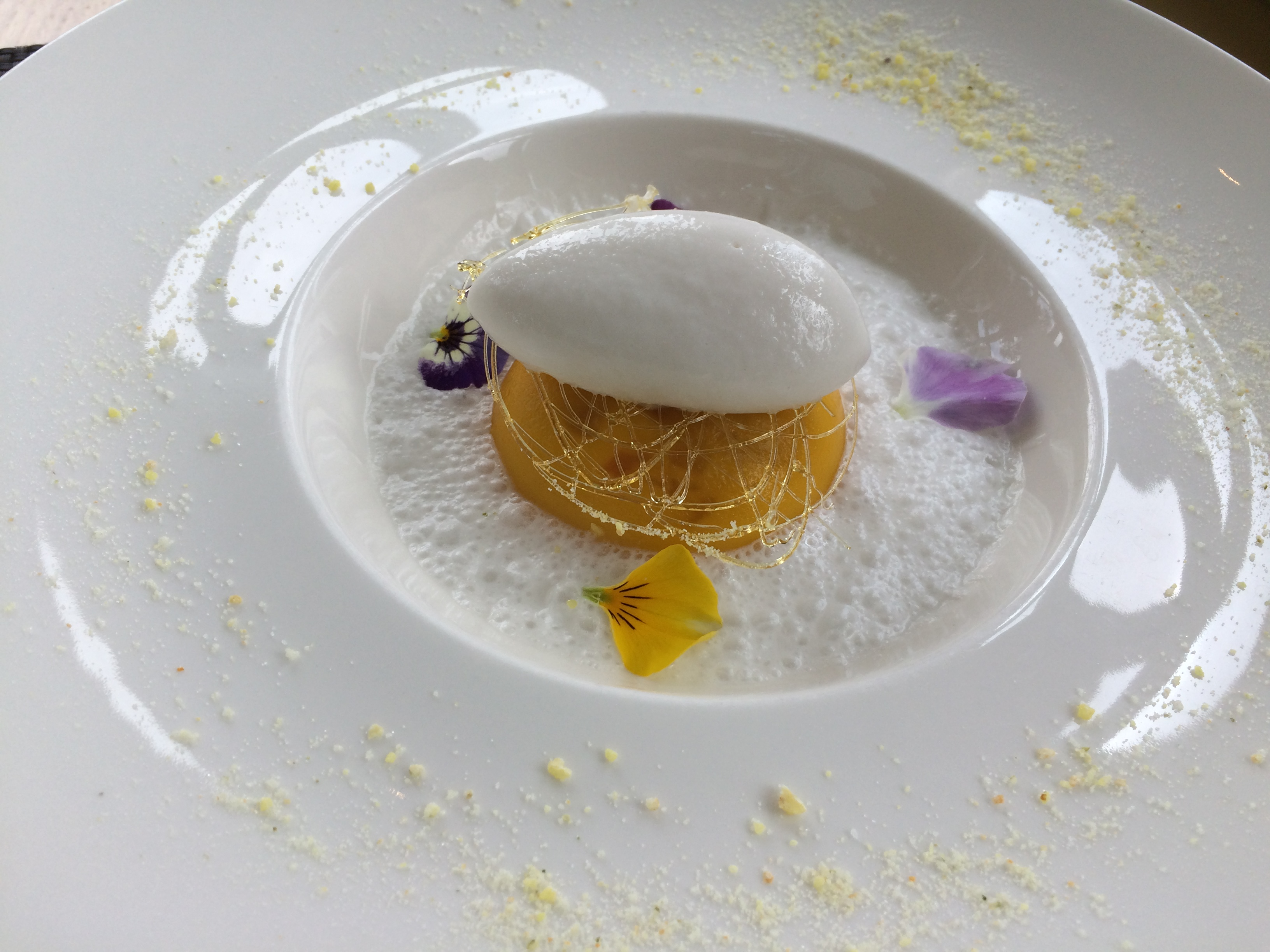 Cromlix food raviole of exotic fruit and pina colada coconut sorbet