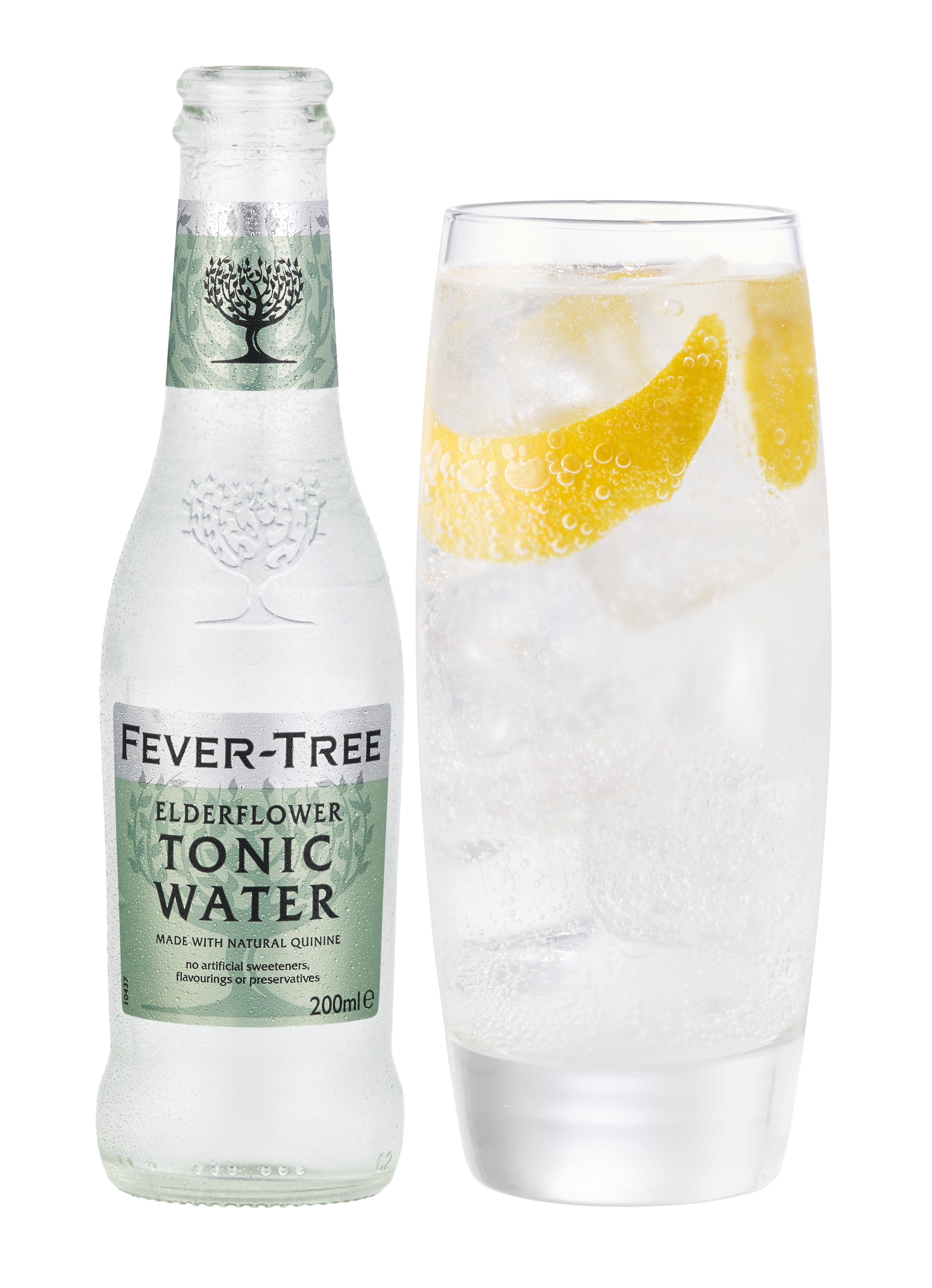 Fever Tree Elderflower Tonic Highball glass with Orange Curl