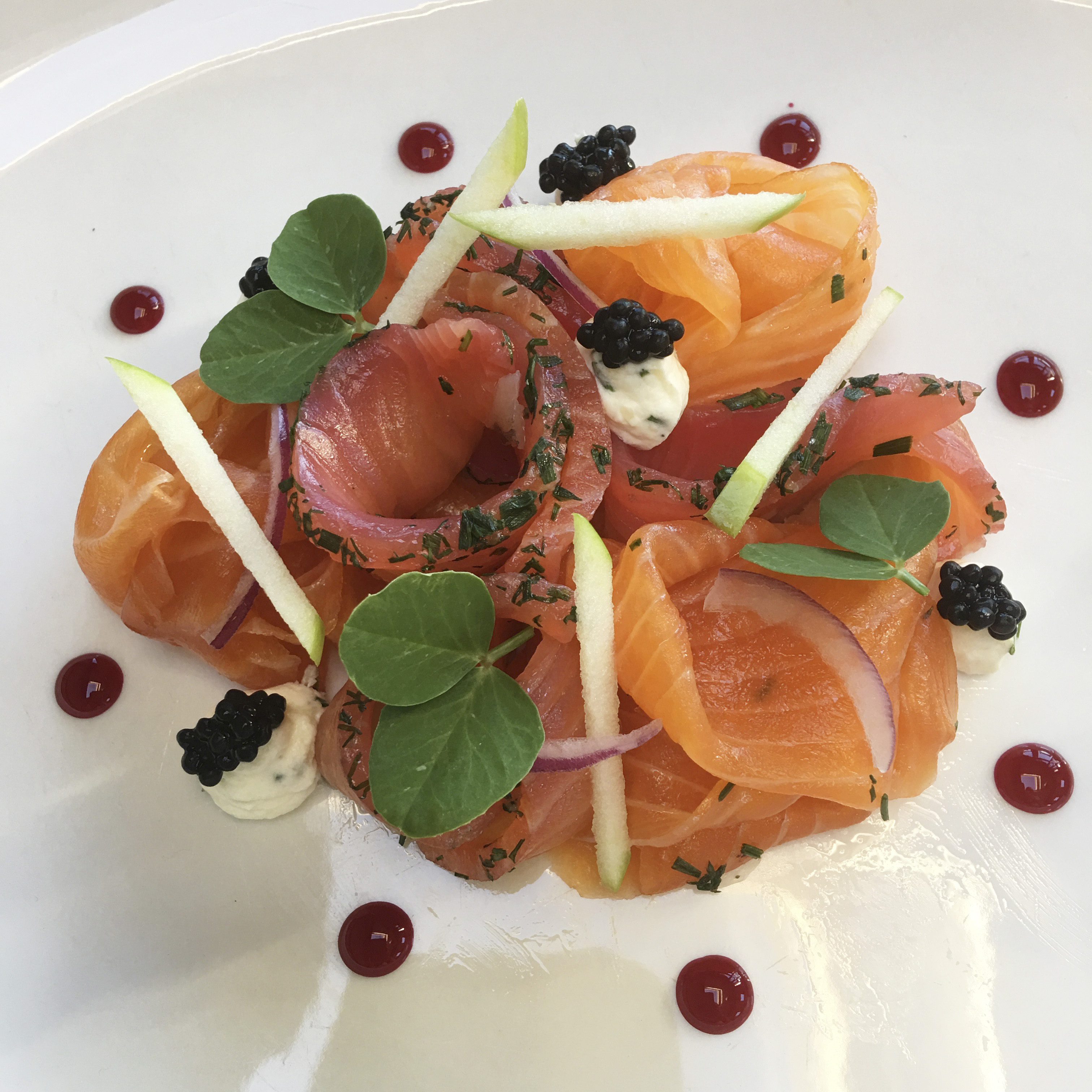 Beetroot and Caorunn gin home-cured salmon at Hebridean lodge