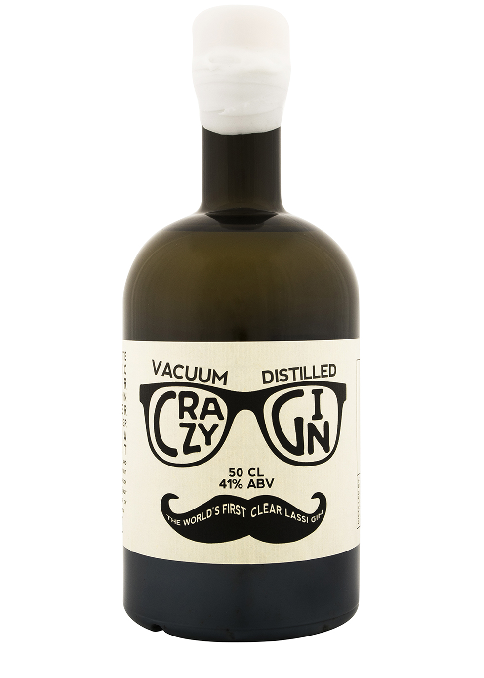 A dark green bottle with a cream label that says vacuum distilled crazy gin with a pair of glasses and a moustache