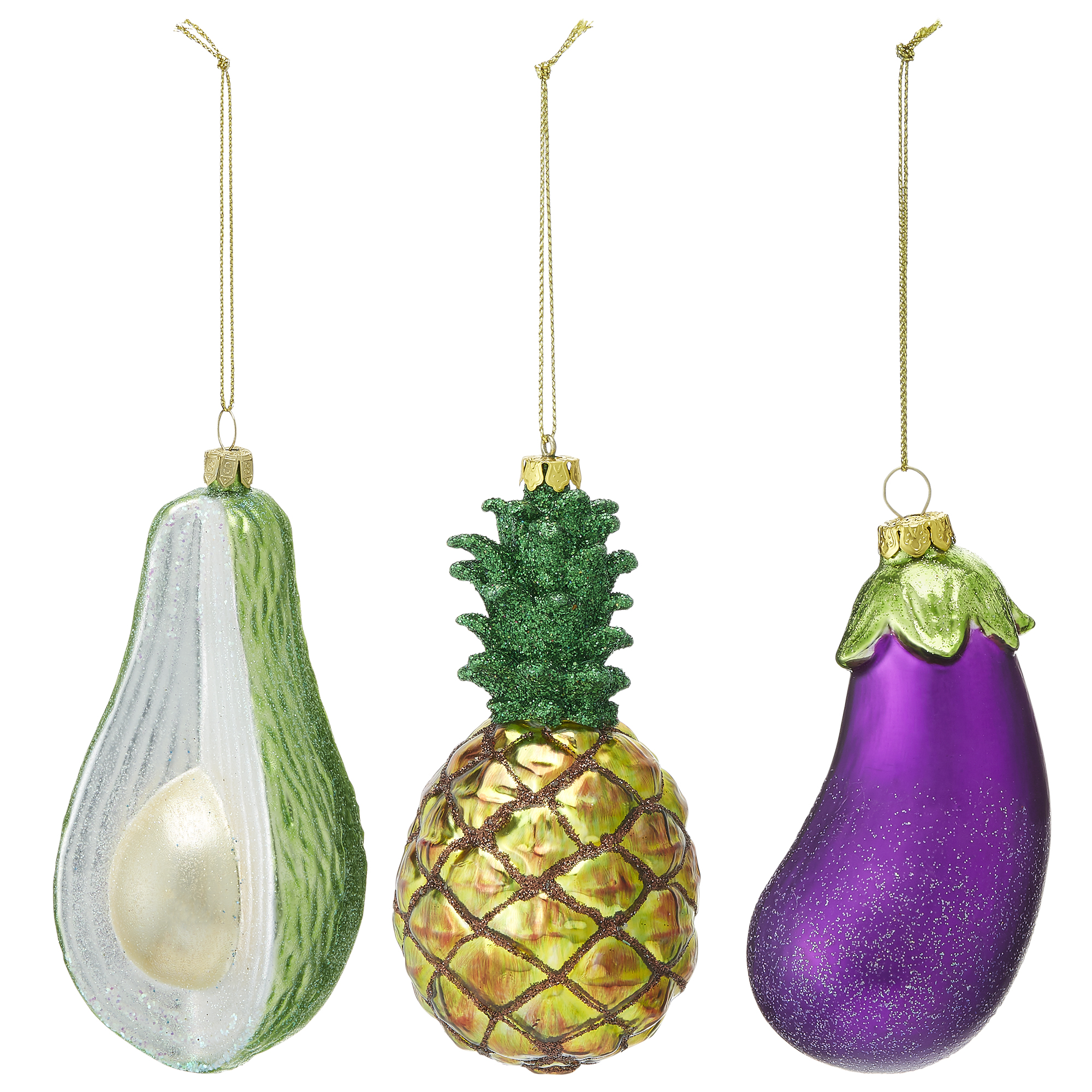 Selection of paper chase baubles. There is an avocado, pineapple and aubergine bauble