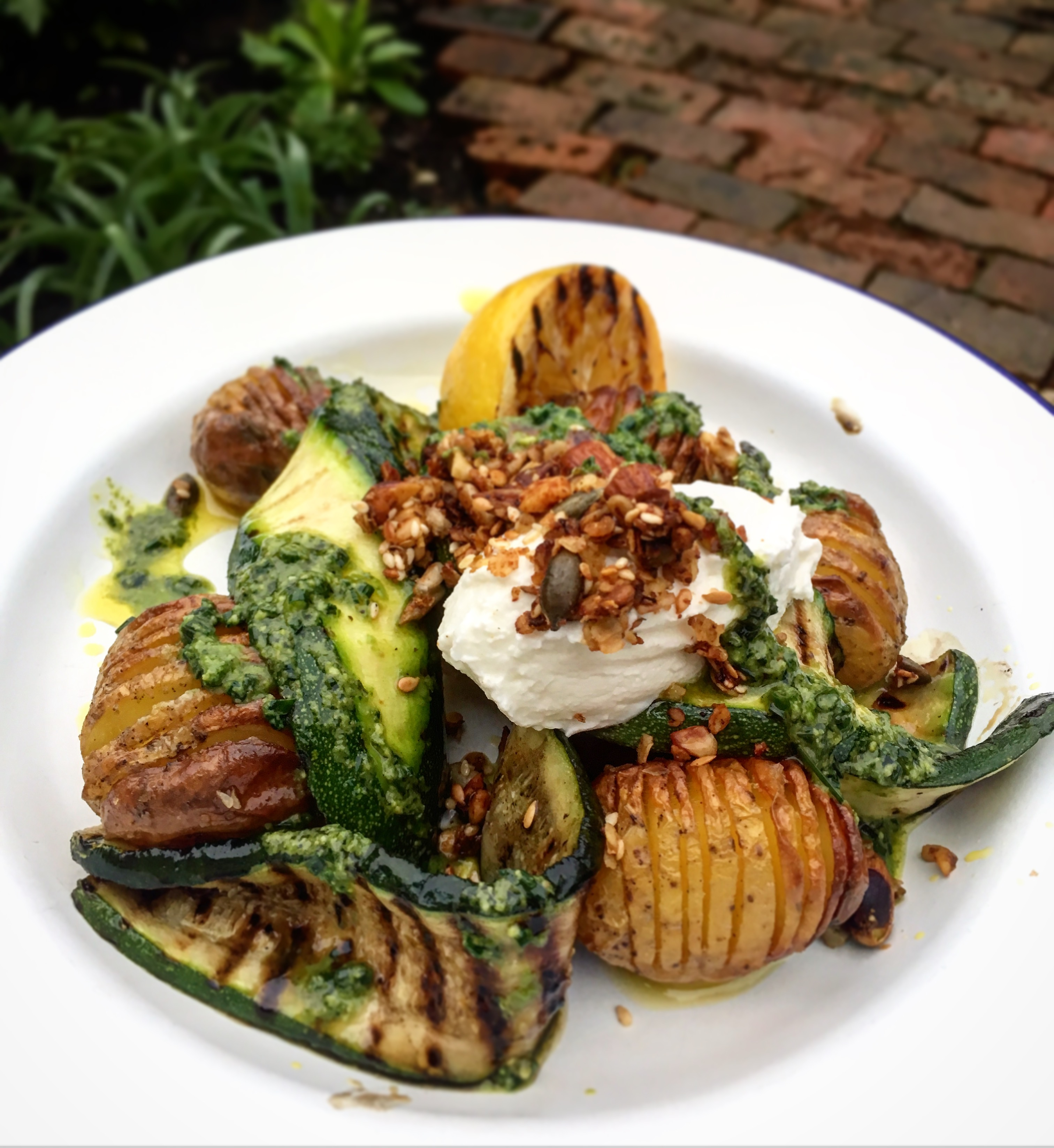 A plate of potatoes and courgettes