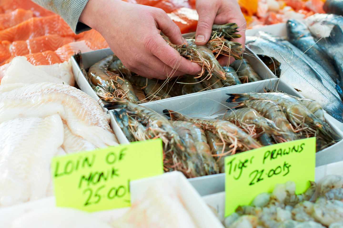 Fresh selection of seafood at stall being handled by fishmonger, St Georges market Belfast Northern Ireland