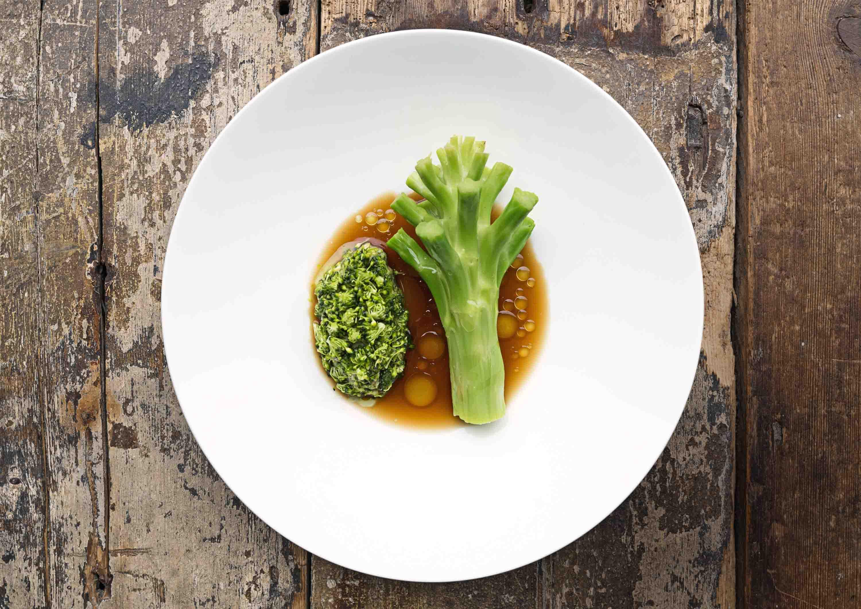 Broccoli stalk on a plate at SIlo Brighton