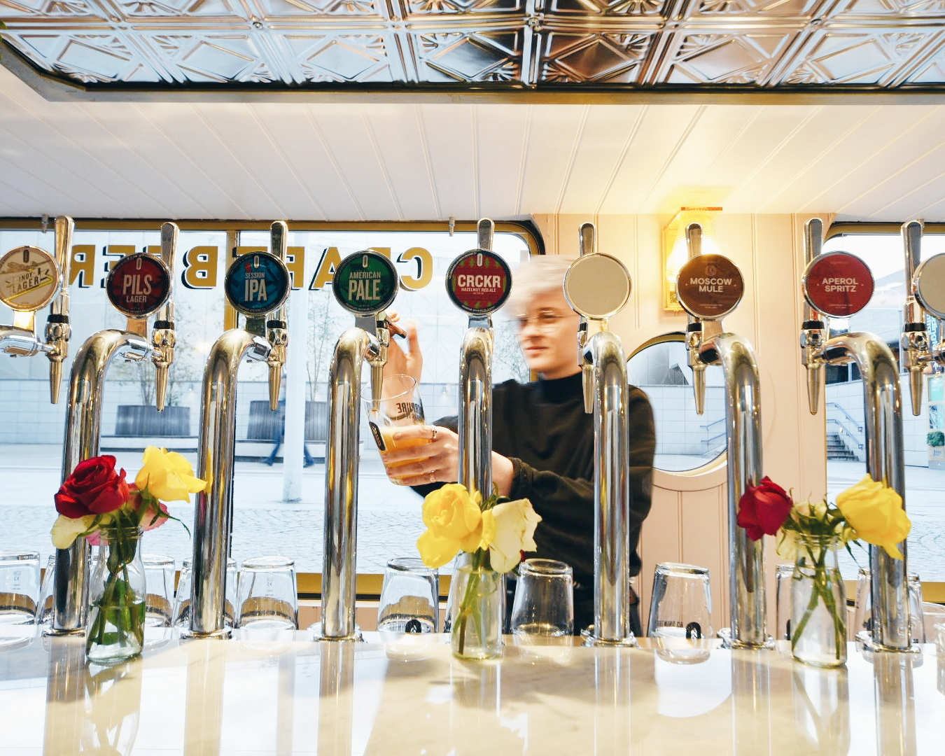 Craft Beer Taps On May Green Canal Boat Paddington