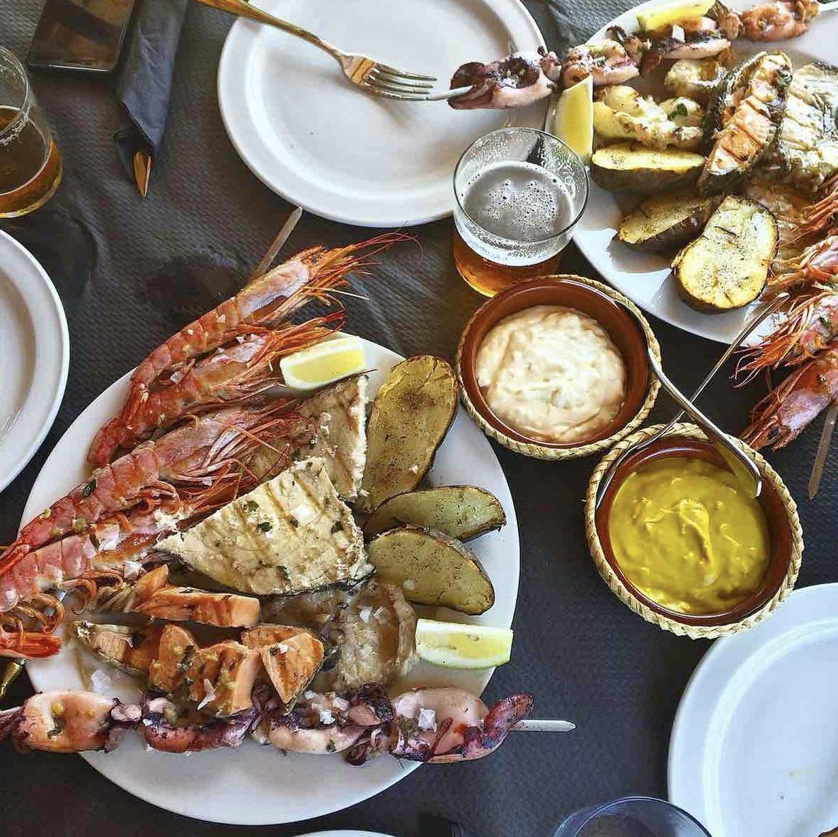 Seafood platters in Tarifa