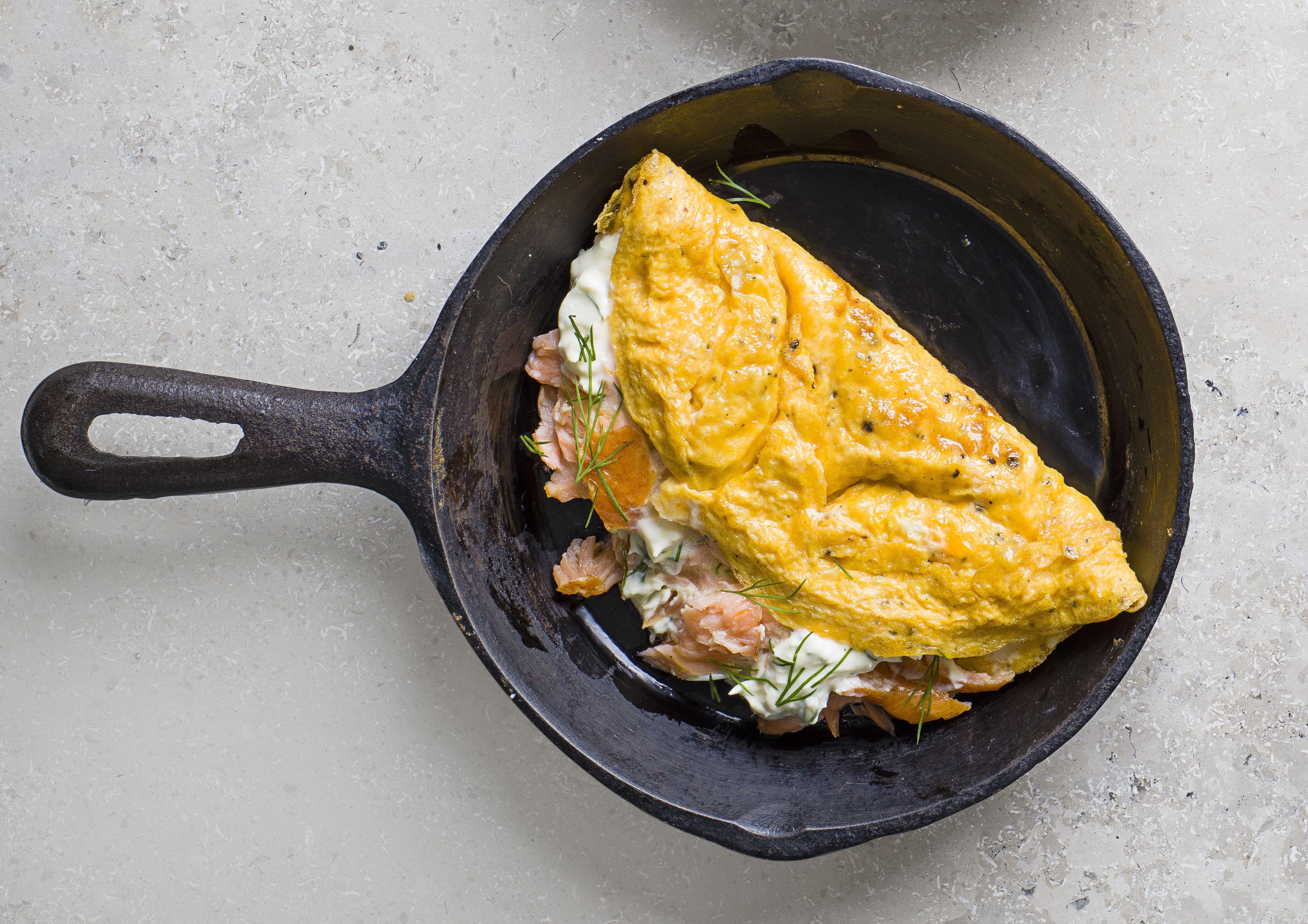 Hot smoked salmon, lemon crème fraîche and dill recipe