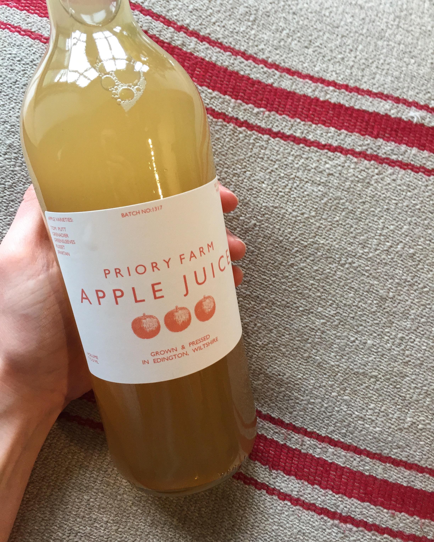 Priory Farm Shop apple juice, the Three Daggers, Wiltshire