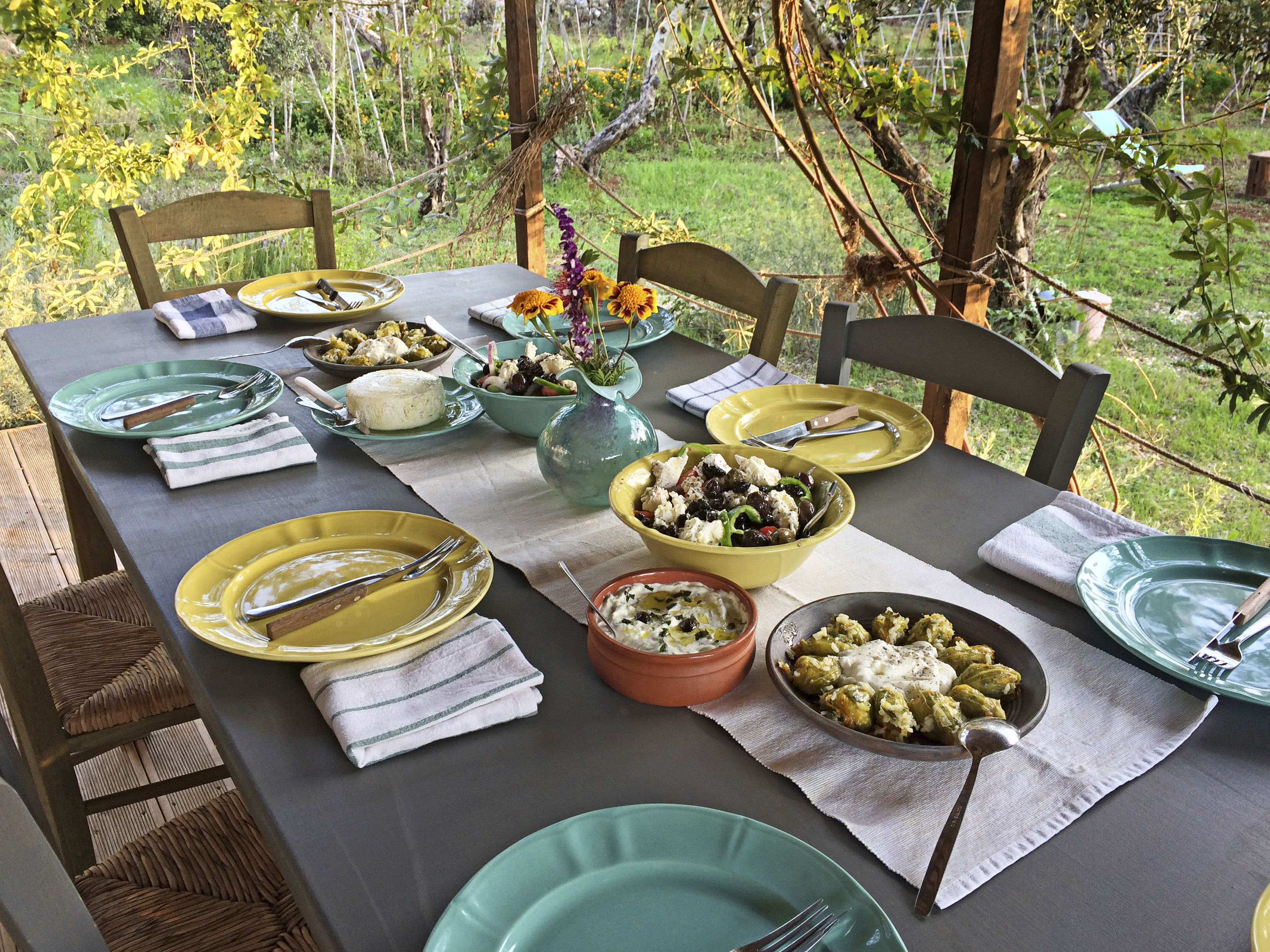 Lunch at a hand picked greece workshop