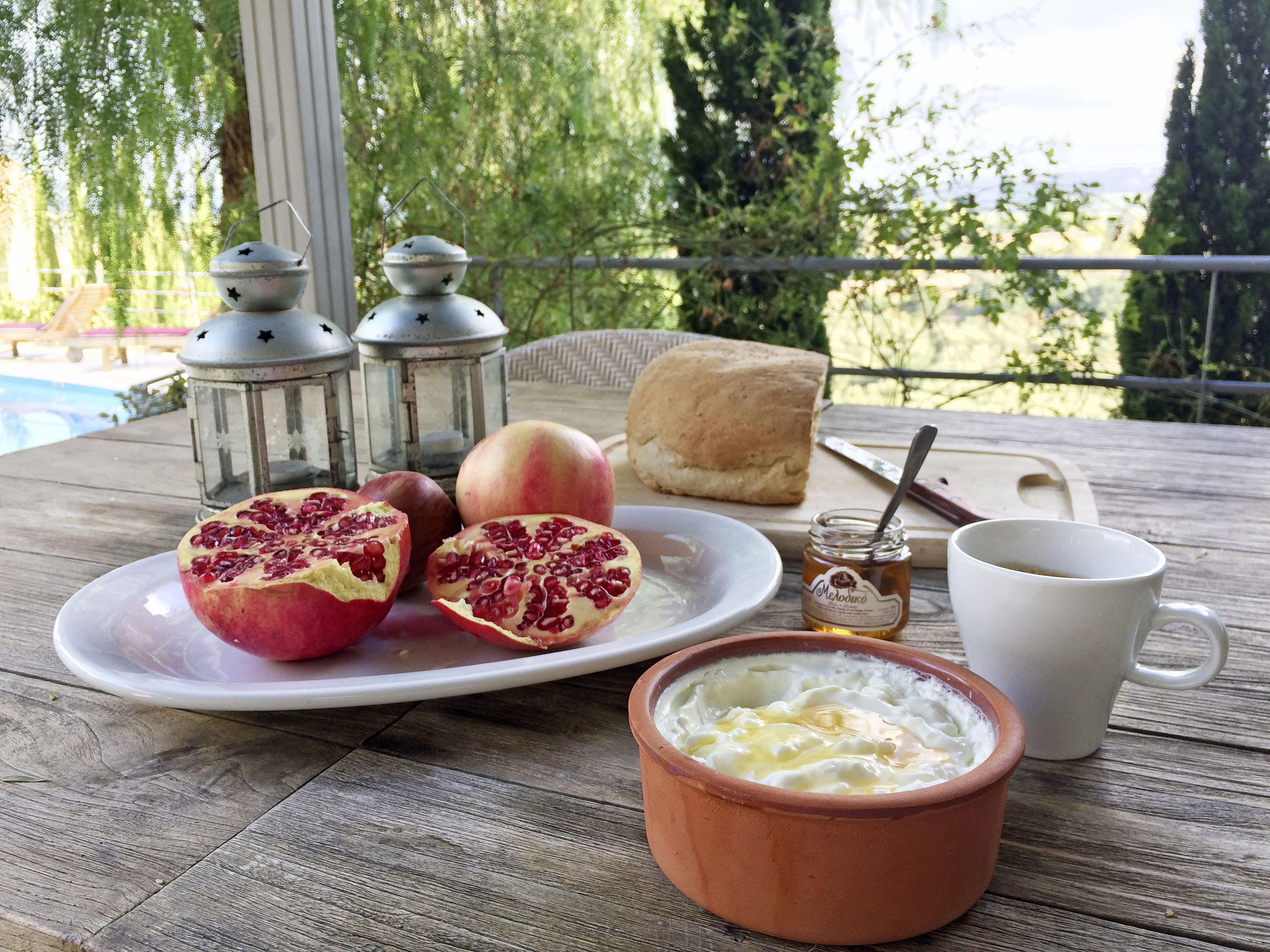 Breakfast at Bleverde Estate, Greek yoghurt, honey and pomegranate
