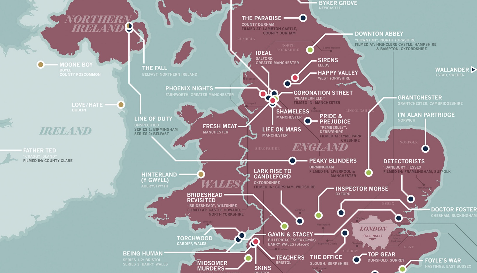 Incredible TV location map of the UK featuring Doctor Who