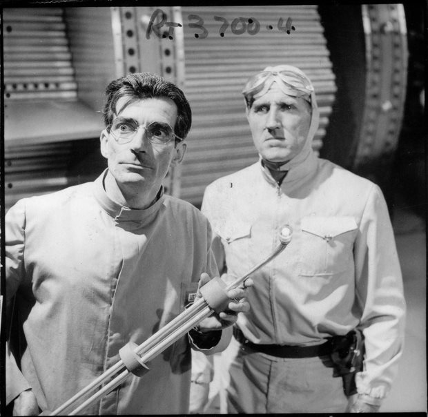 Two of the guest cast in The Power of the Daleks, Robert James as scientist Lesterson and Bernard Archard as the villainous Bragen. Shot number RT 3700 4.