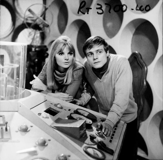 Anneke Wills as Polly and Michael Craze as Ben in the Tardis control room. Shot number RT 3700 40.