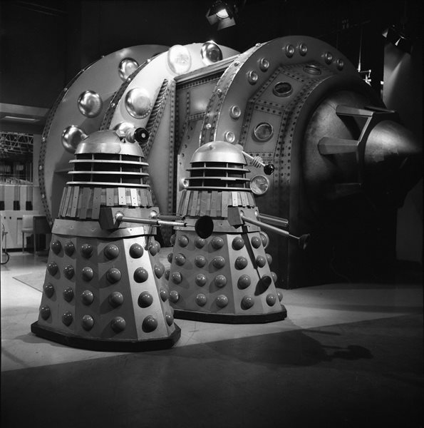 This image of two Daleks was used in a montage for the Radio Times cover. Shot number RT 3700 54