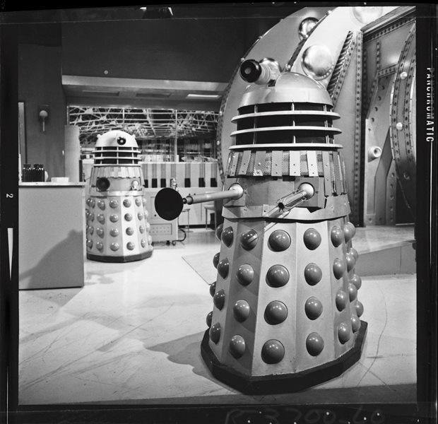 The Dalek in the foreground was used in a montage for the Radio Times cover. Shot number RT 3700 60.