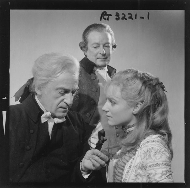 Another curio from A Tale of Two Cities (1965). Troughton as Dr Manette with Kika Markham as Lucie and Leslie French as Jarvis Lorry. Leslie French was an actor originally considered to play the first Doctor in 1963.