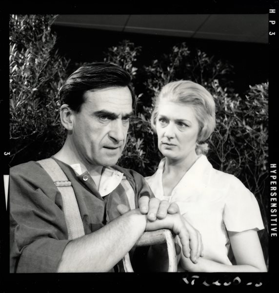 Patrick Troughton had three roles in the popular, long-running BBC drama, Dr Finlay's Casebook. This shot is from the episode Snap Decision (11 October 1962), in which he played Alex Dean, a troubled gardener. Marion Mathie played Annie Dean.
