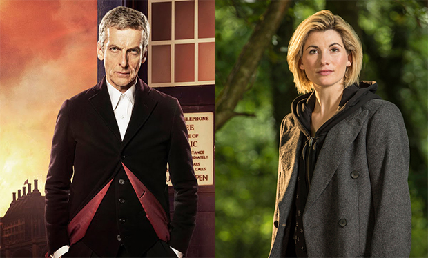On the left... Peter Capaldi, standing in front of the TARDIS, in his original costume as the Doctor. On the right... Jodie Whittaker, in a black hoodie and charcoal gray jacket, in her first reveal photo as the Doctor...