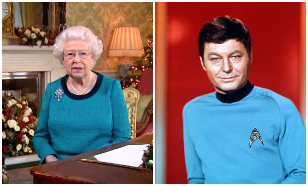 people think the queen was dressed in star trek 39 cosplay 39 for christmas day speech radio times. Black Bedroom Furniture Sets. Home Design Ideas