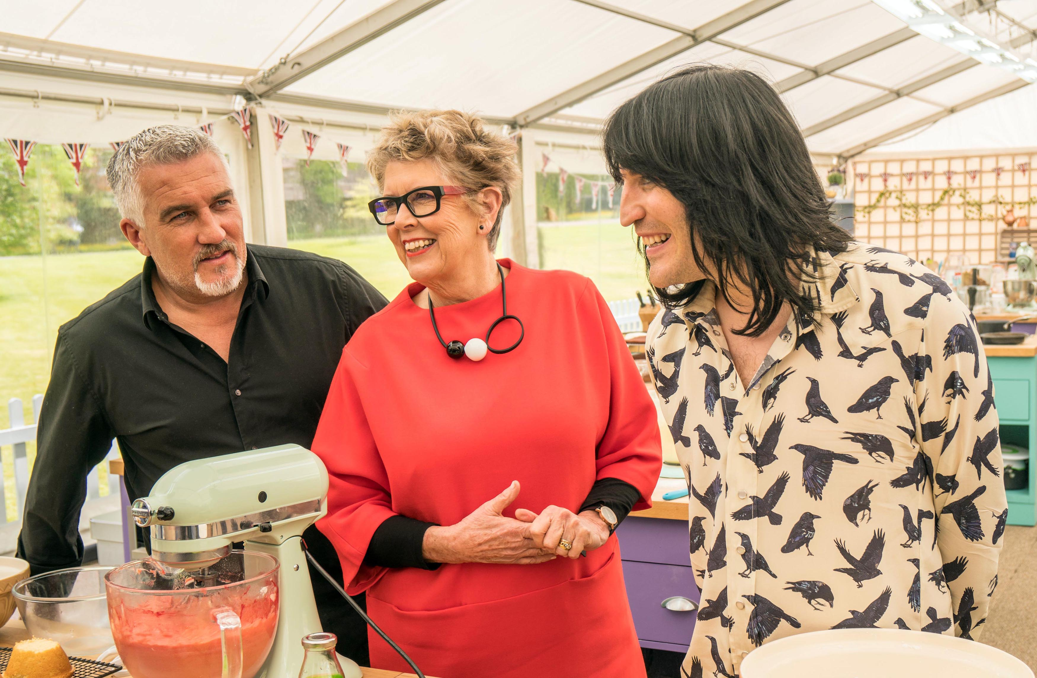 Paul Hollywood with Bake Off newcomers Prue Leith and Noel Fielding