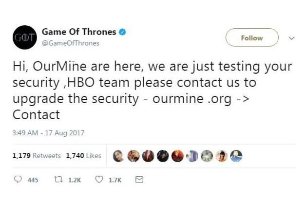 Game of Thrones hacked tweet