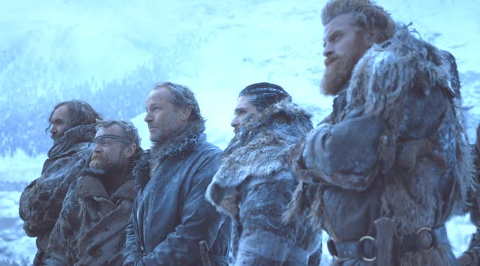 sandor-clegane-beric-dondarrion-jorah-mormont-jon-snow-and-tormund-giantsbane-in-beyond-the-wal