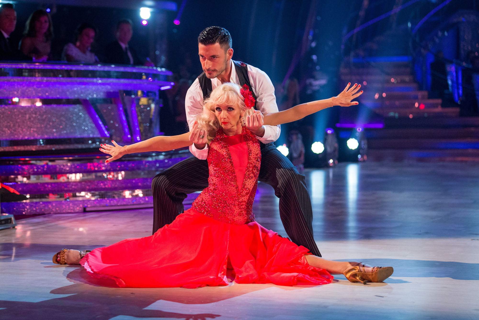 Debbie McGee and Giovanni Pernice dance the Paso Doble on week 1 of Strictly Come Dancing (BBC)