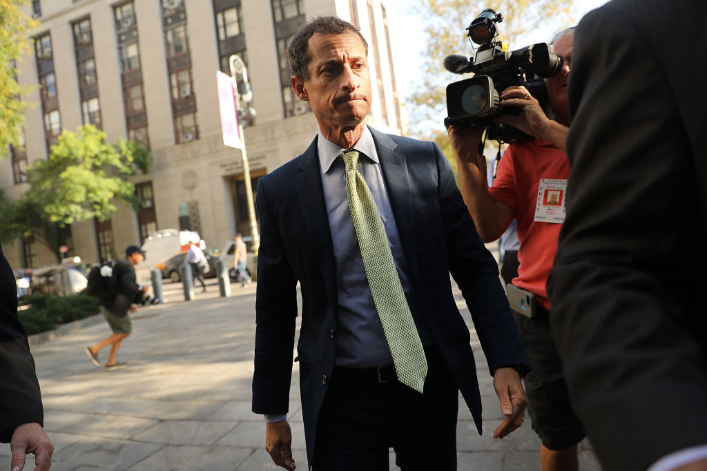 NEW YORK, NY - SEPTEMBER 25:  Former congressman Anthony Weiner arrives at a New York courthouse for his sentencing in a sexting case on September 25, 2017 in New York City. As part of his plea deal, Weiner, who is separated from wife Huma Abedin, has agreed not to appeal the prosecutors' recommendation of 21 to 27 months in jail.  (Photo by Spencer Platt/Getty Images, BA)